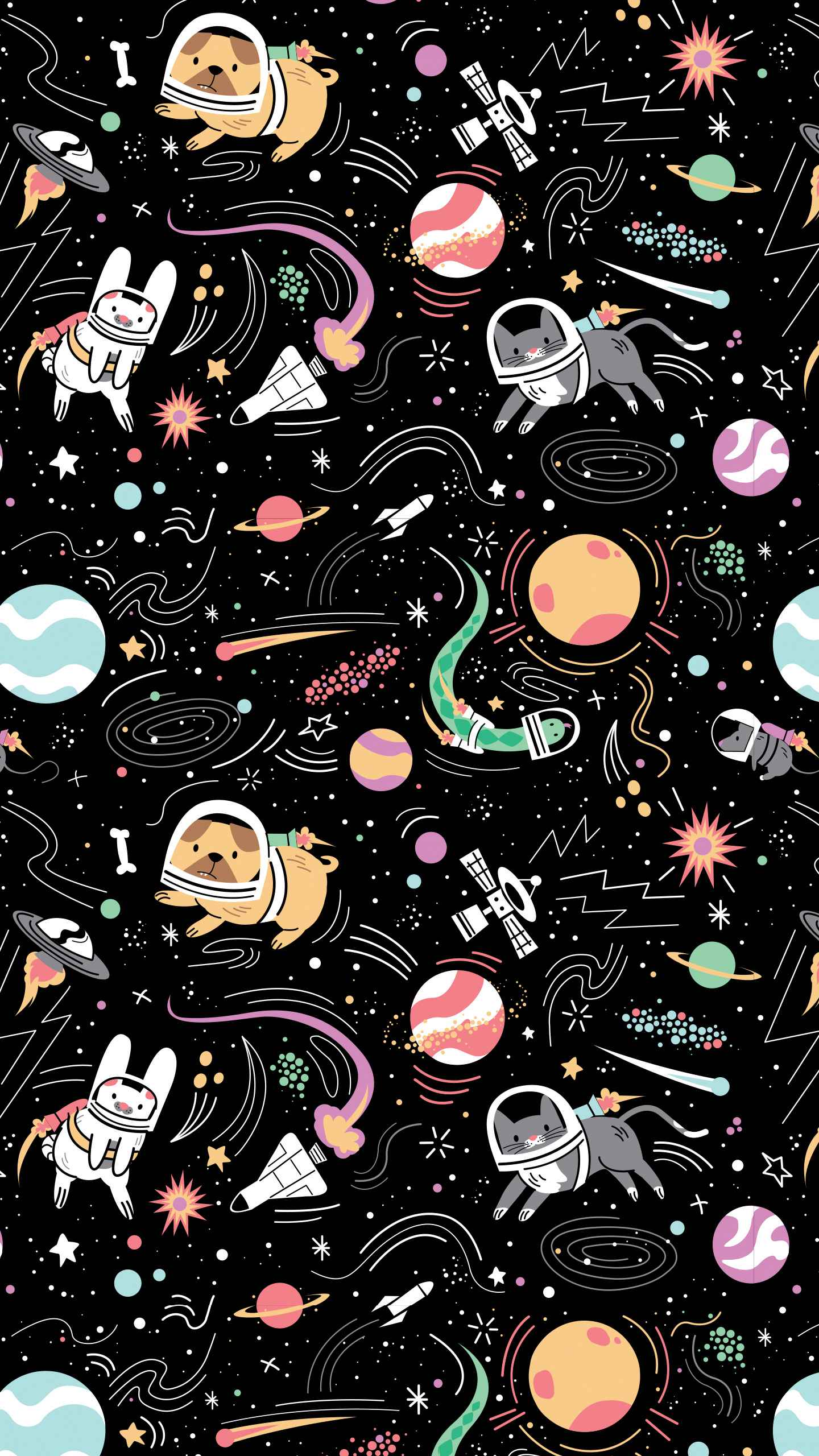 Space Pets iPhone Wallpaper