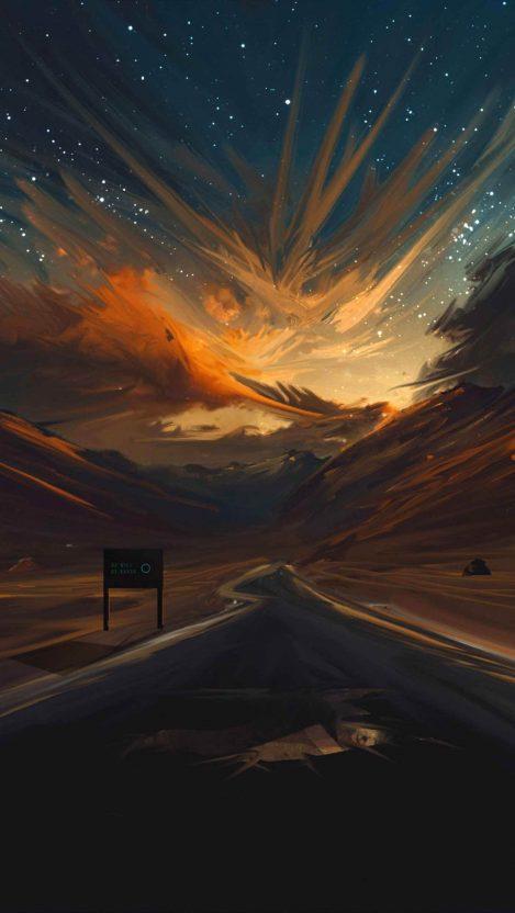 Sunset Road Art iPhone Wallpaper