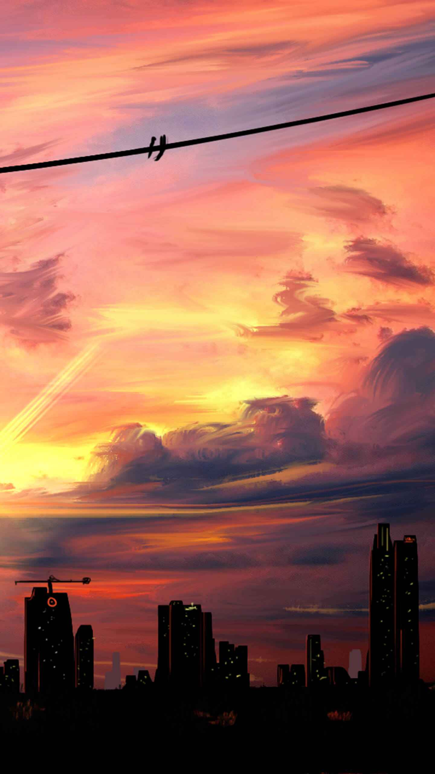 Sunset Silhoutte City iPhone Wallpaper