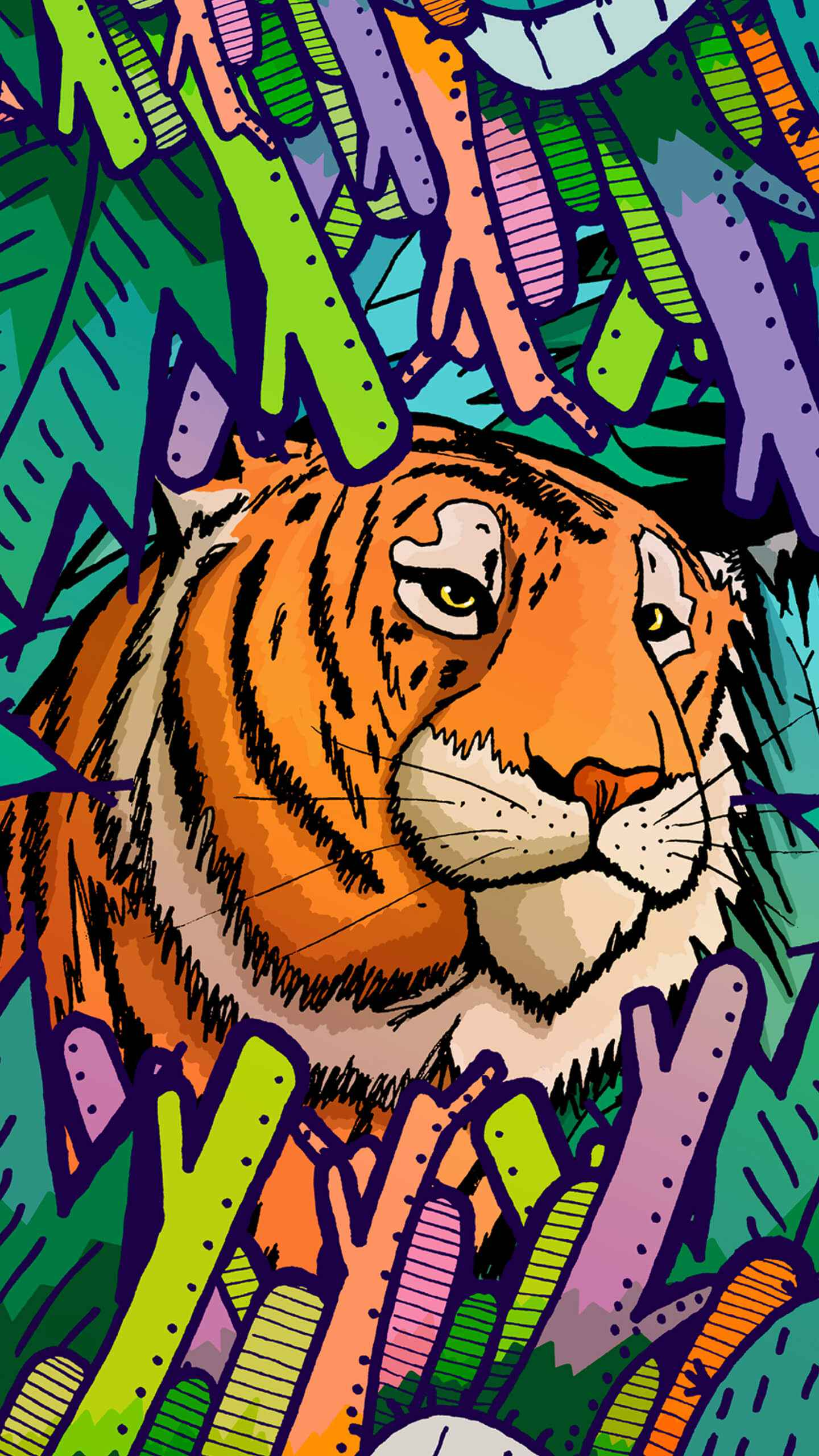 Tiger in the jungle iPhone Wallpaper