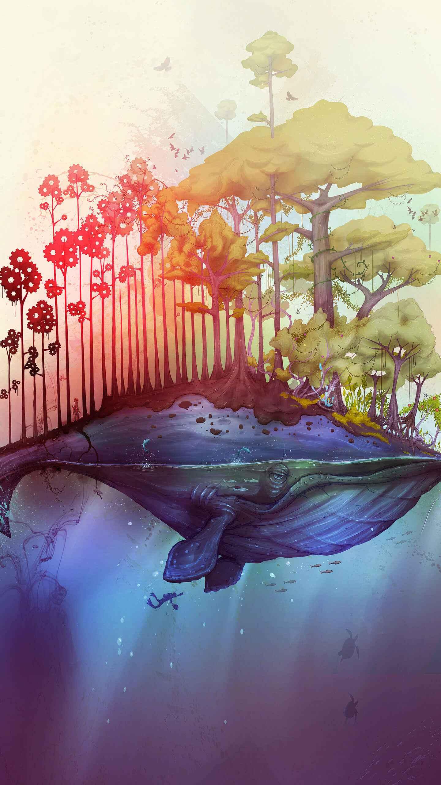 Whale Island iPhone Wallpaper
