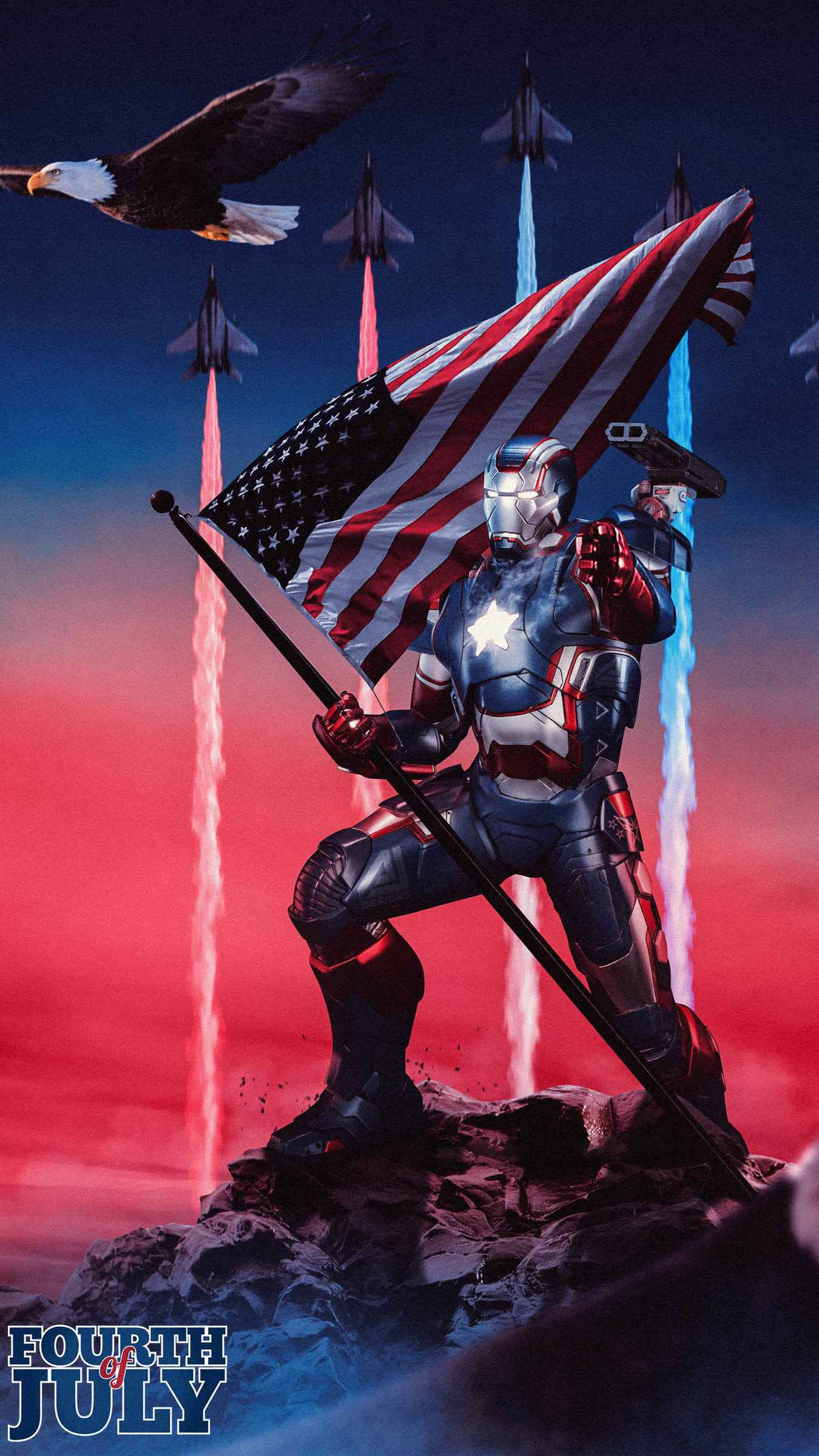 4th of July Patriots Day War Machine iPhone Wallpaper