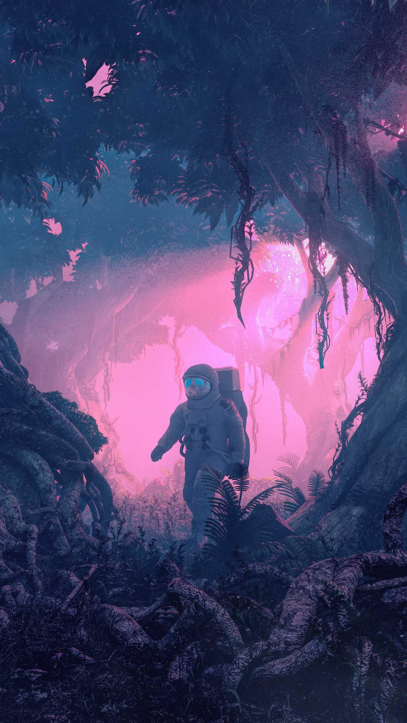 Astronaut in Nature iPhone Wallpaper