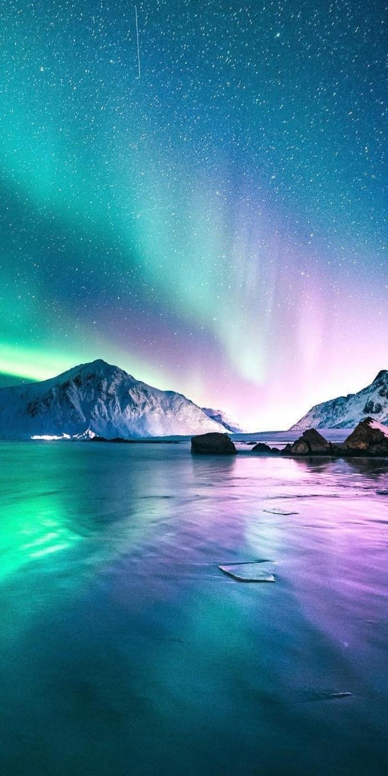 Aurora Lights Snow Night iPhone Wallpaper