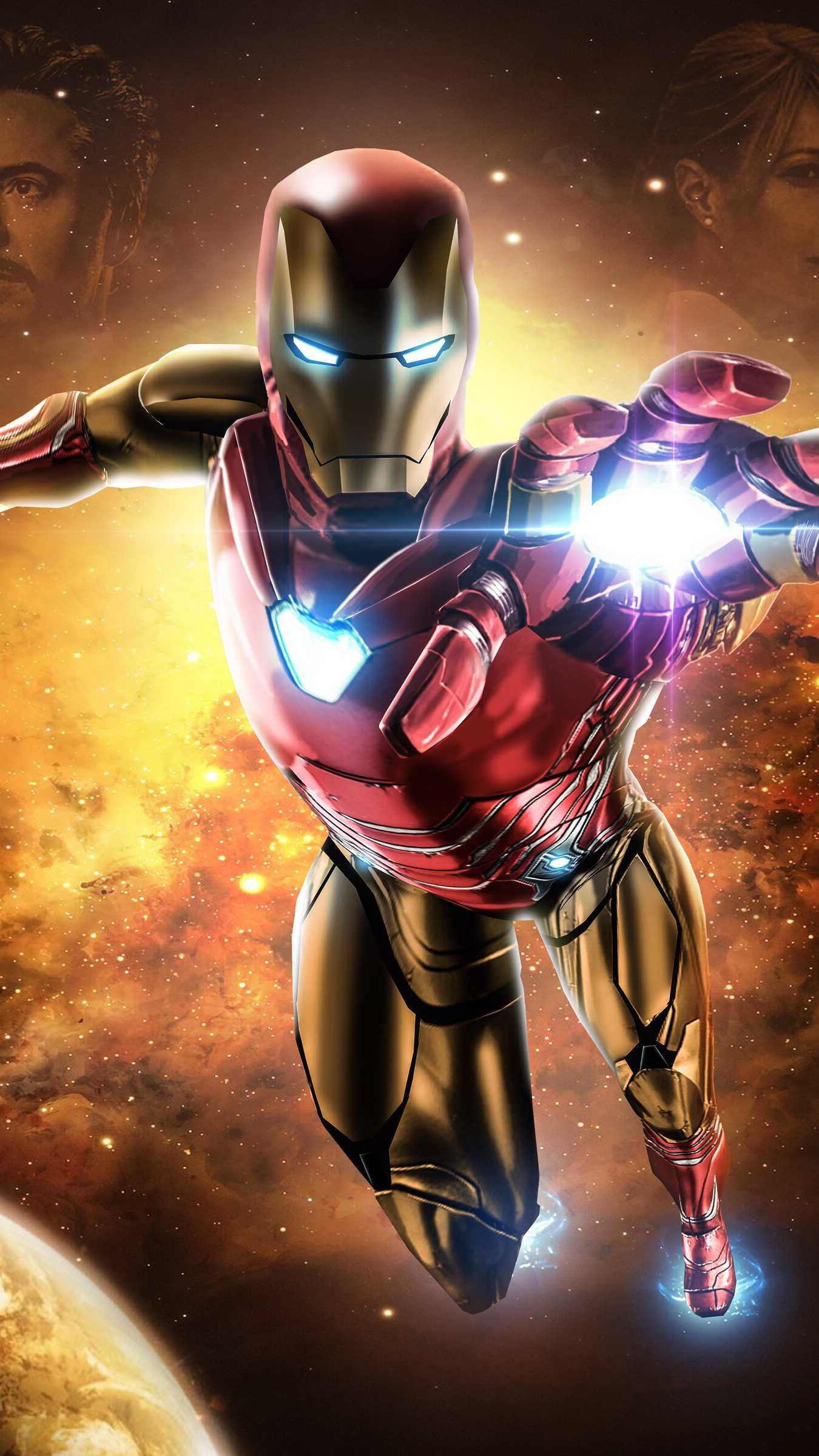 Avengers Endgame Iron Man Mark 85 Armor Space iPhone Wallpaper