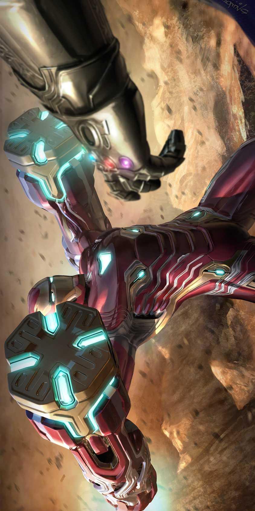 Avengers Endgame Iron Man vs Thanos iPhone Wallpaper 1