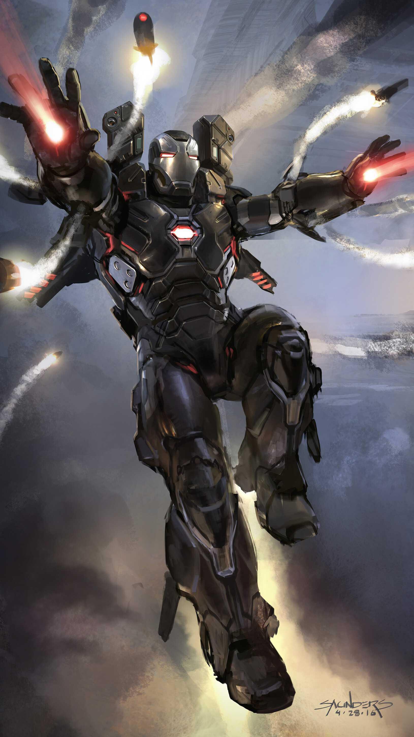 Avengers Endgame War Machine Action iPhone Wallpaper