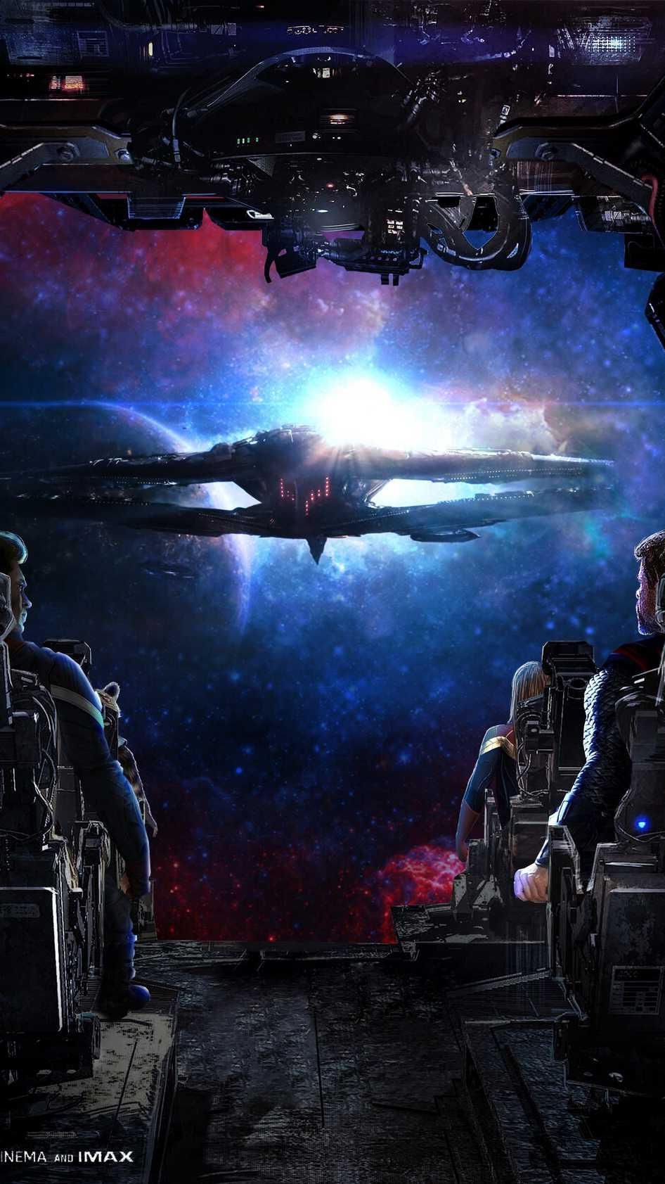 Avengers Ship Battle iPhone Wallpaper