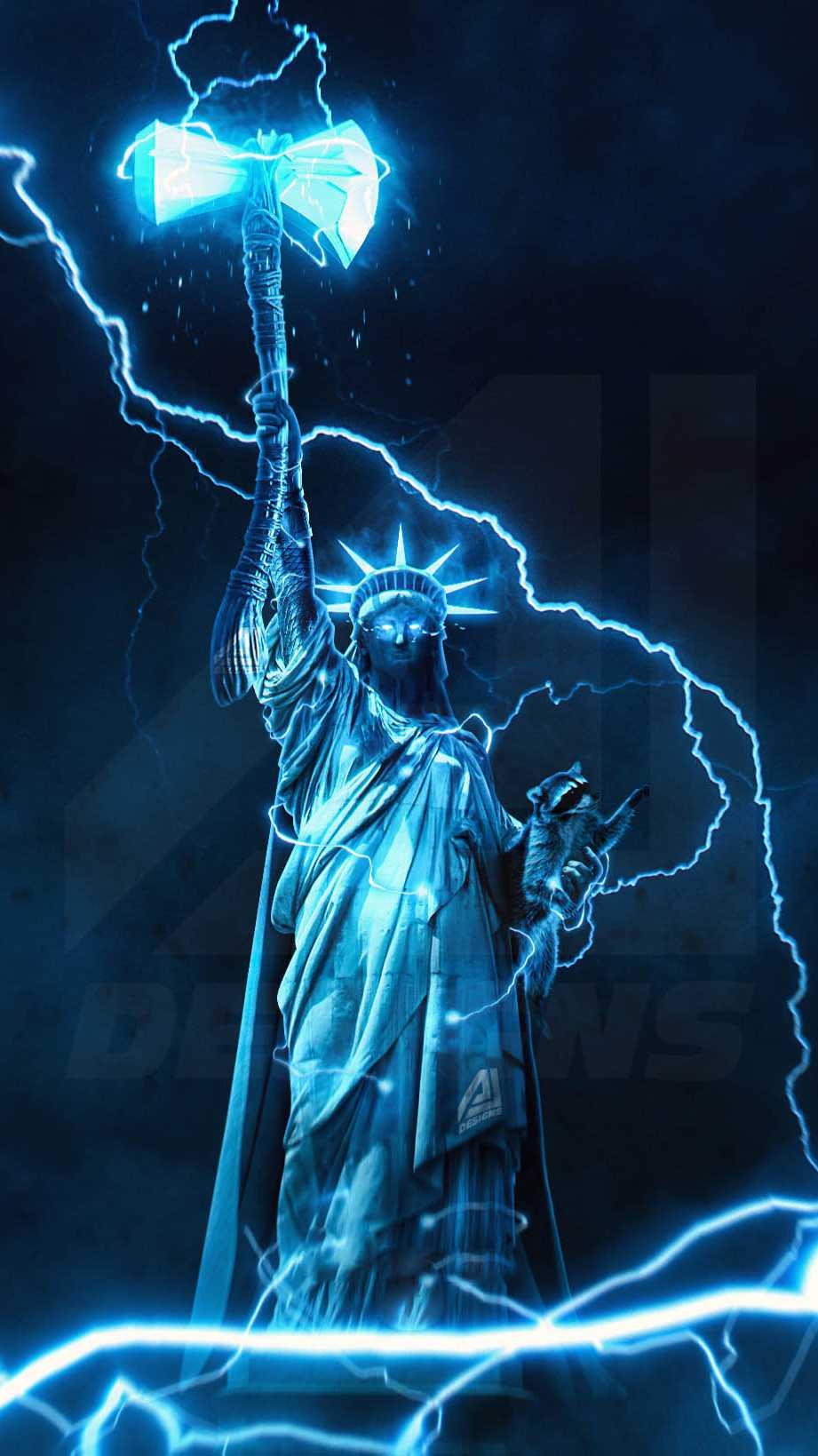 Avengers Statue of Liberty Stormbreaker iPhone Wallpaper