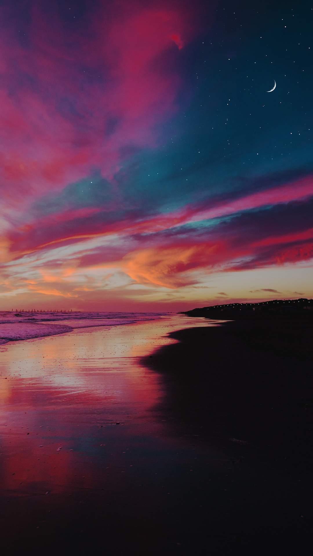 Beach Horizon Starry Sky Sunset iPhone Wallpaper
