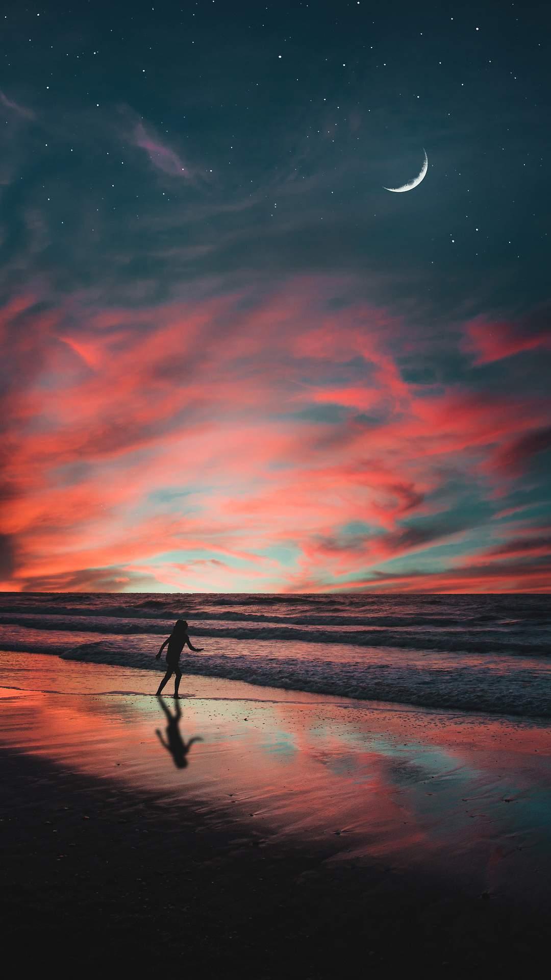 Beach Moon Horizon iPhone Wallpaper
