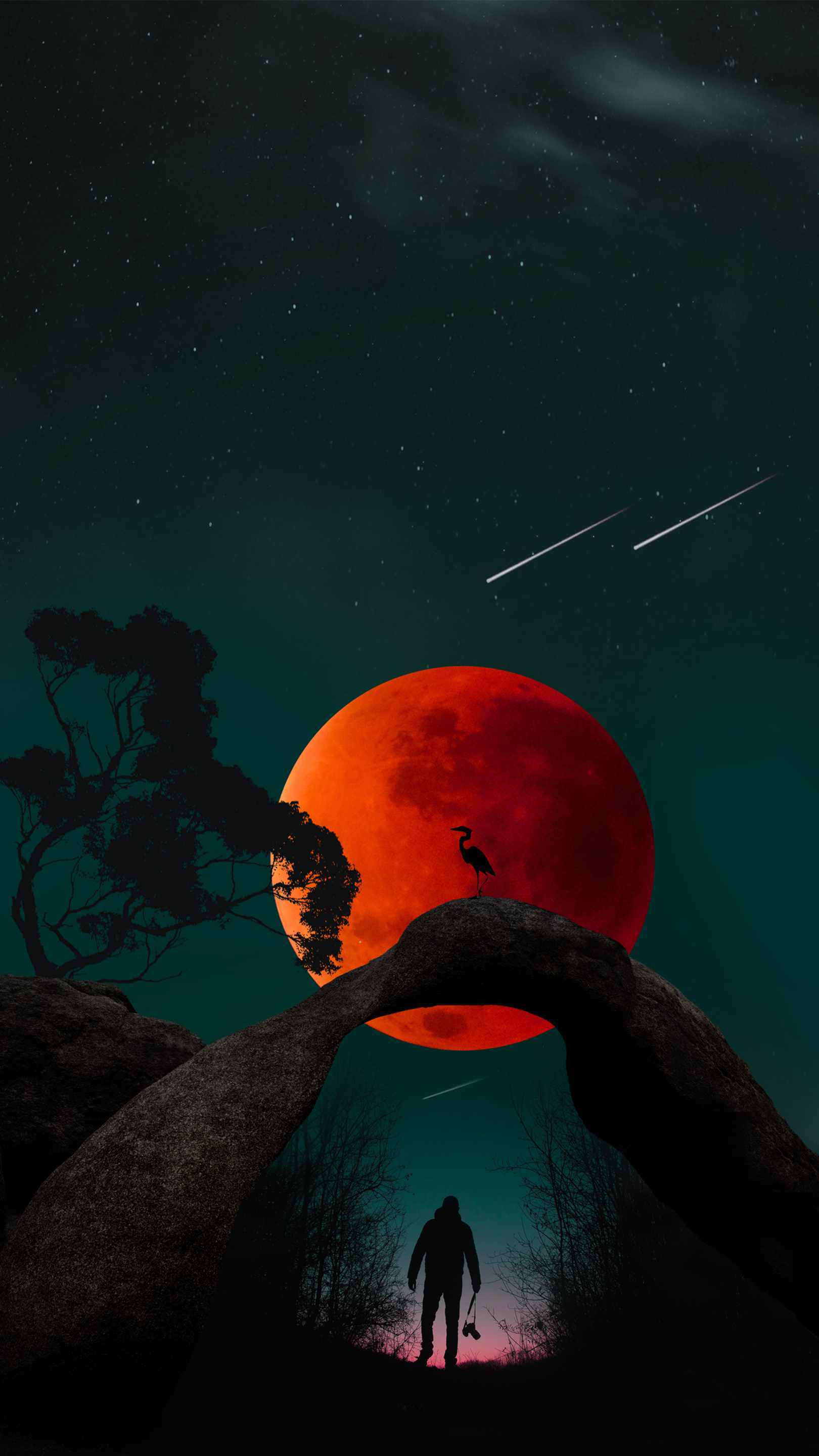 Blood Moon and Man iPhone Wallpaper