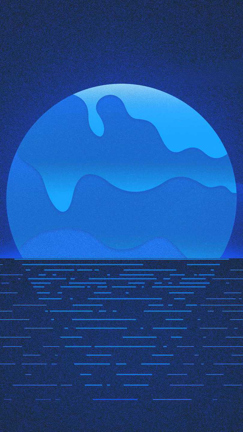 Blue Amoled Moon iPhone Wallpaper