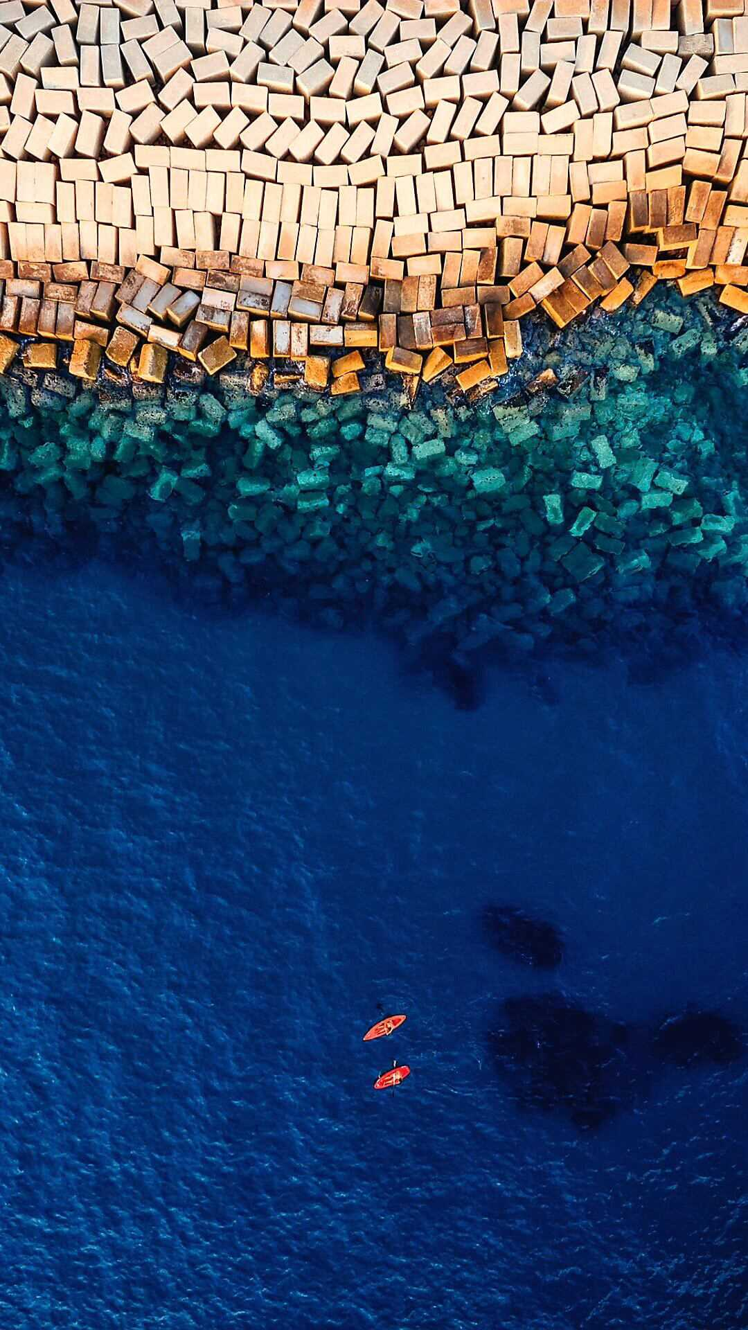 Blue Ocean Drone View iPhone Wallpaper