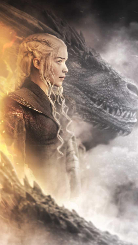 Daenerys and Dragon iPhone Wallpaper