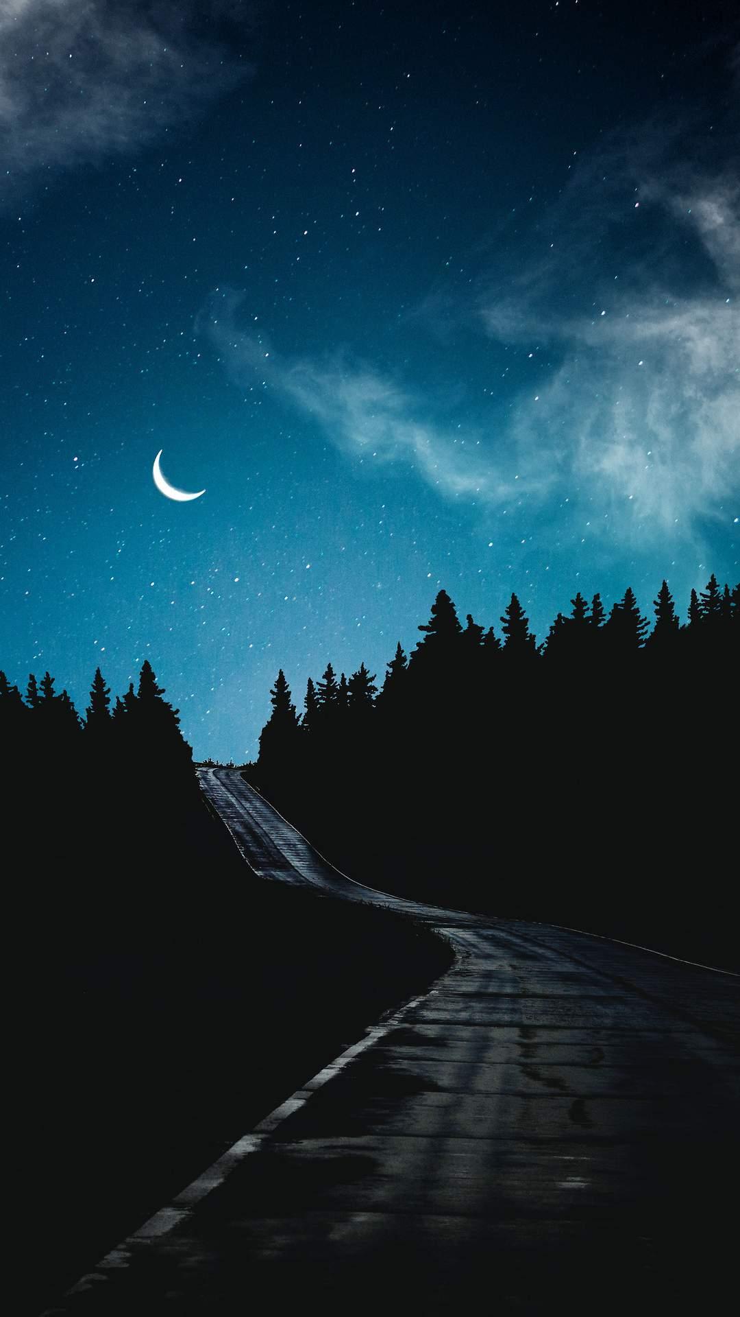 Dark Night Road Moon iPhone Wallpaper