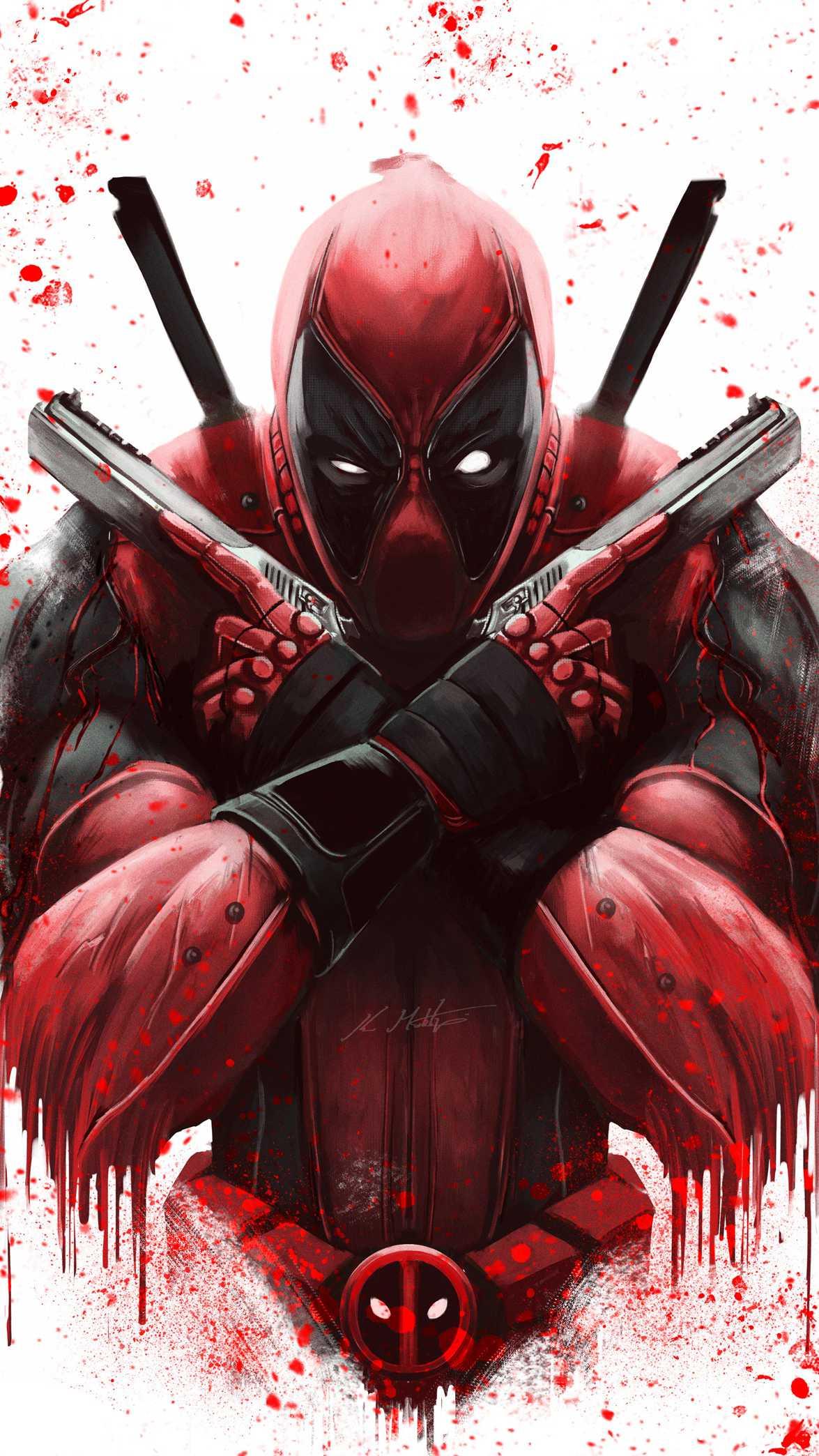 Deadpool and Guns iPhone Wallpaper
