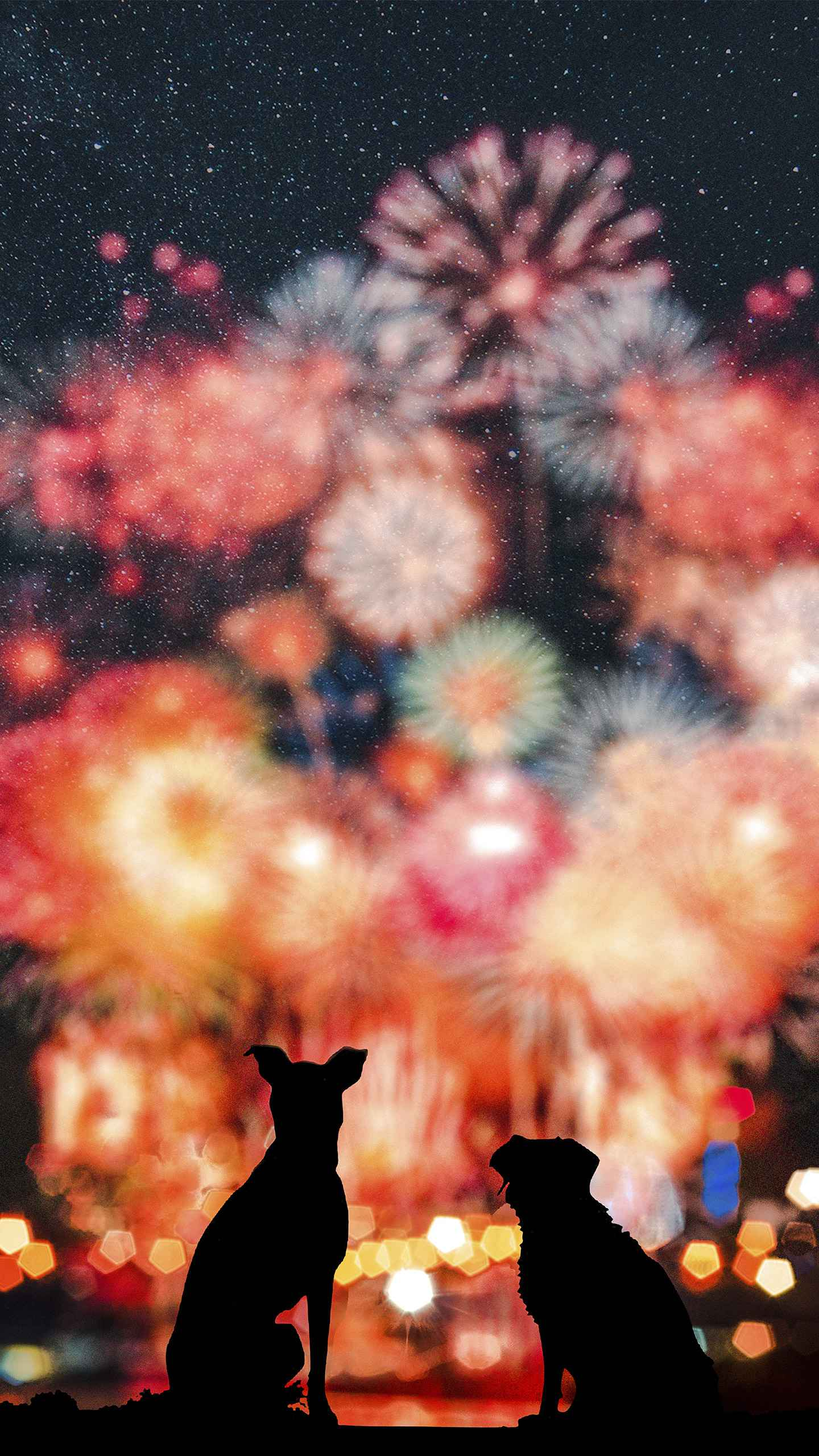 Fireworks and Dogs iPhone Wallpaper