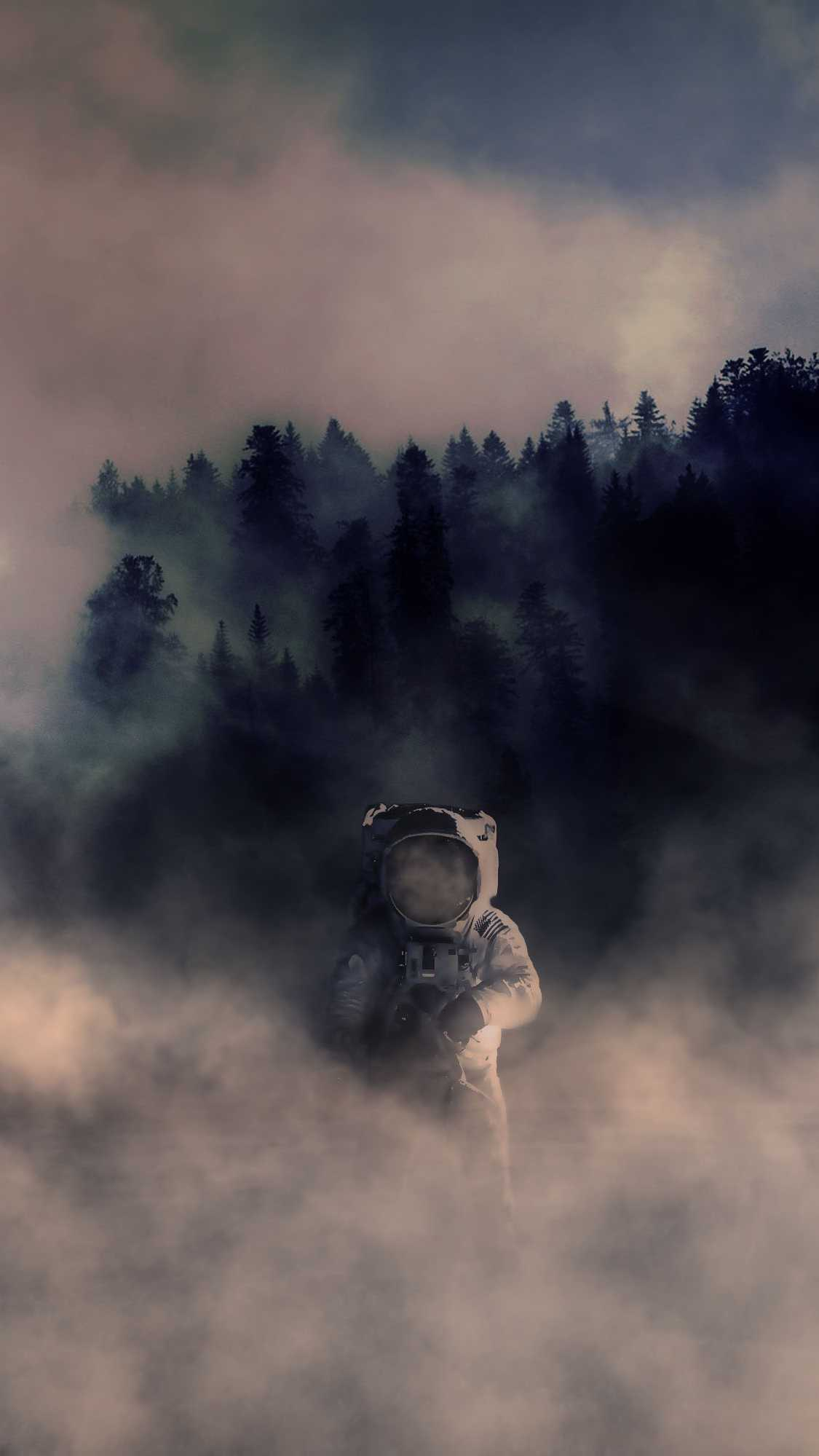 Forest Astronaut iPhone Wallpaper