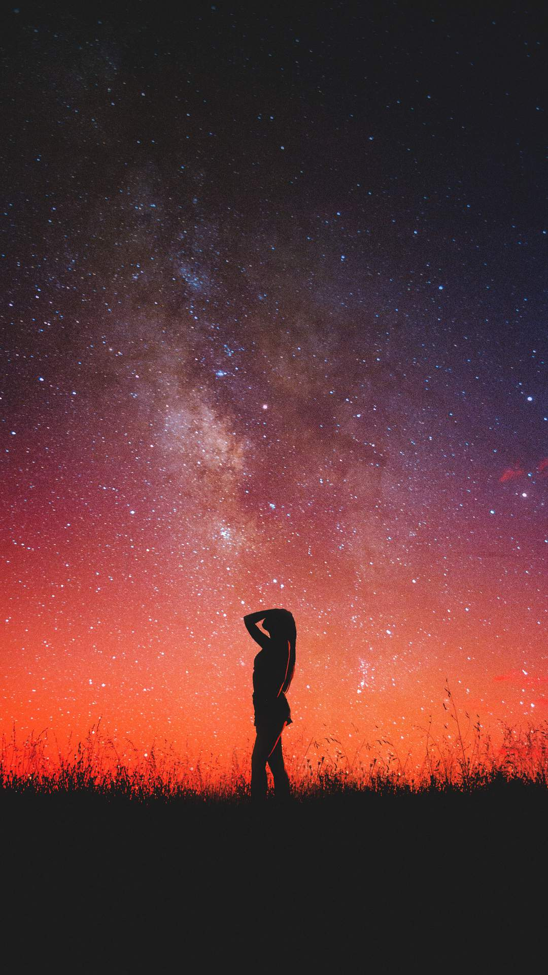 Girl Under the Stars iPhone Wallpaper