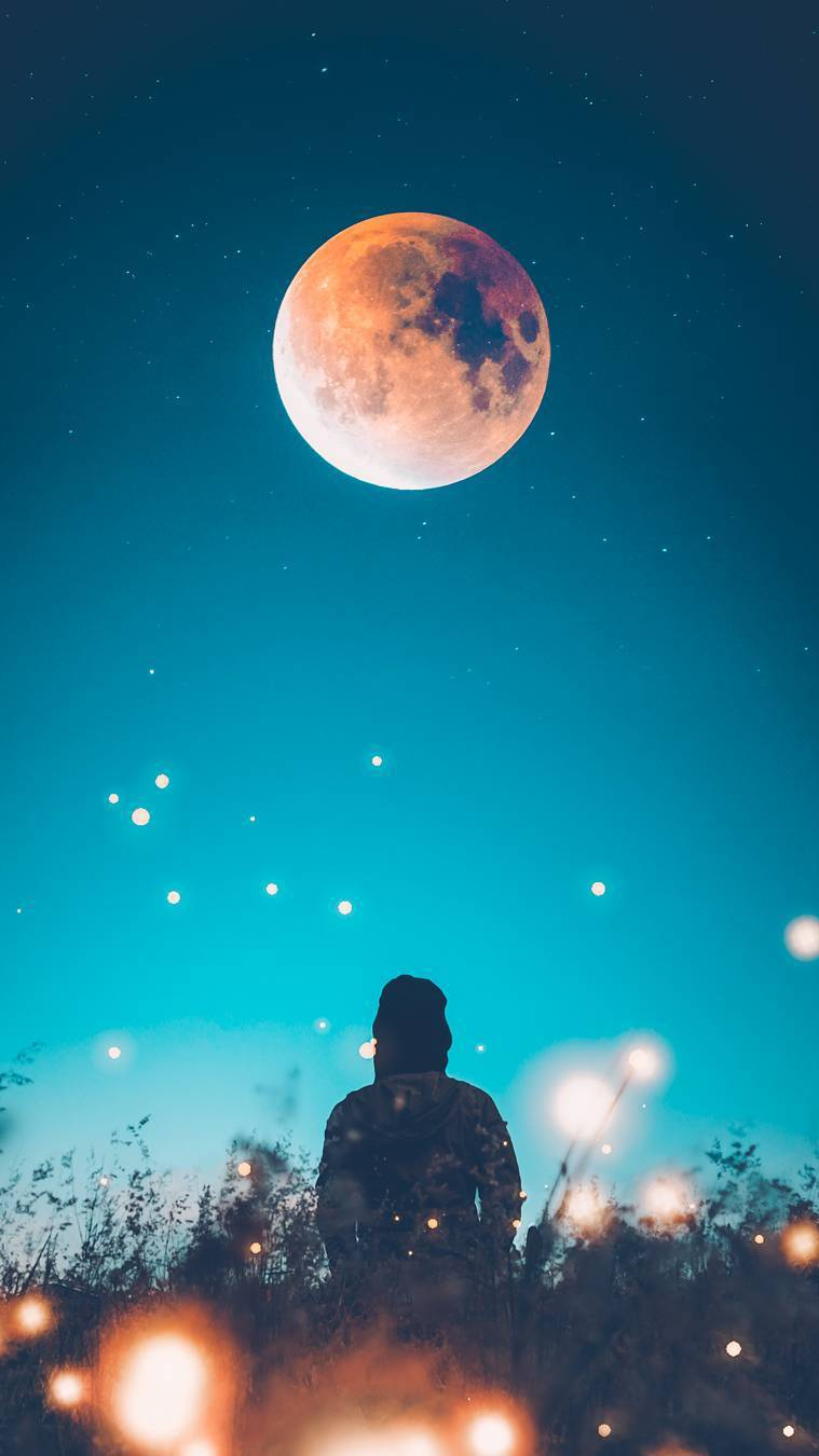 Girl and the Moon iPhone Wallpaper