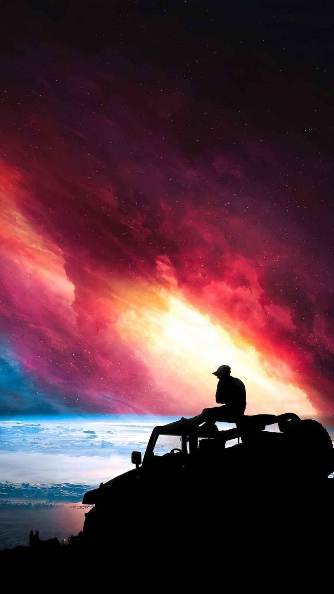 Jeep Adventures in Space iPhone Wallpaper