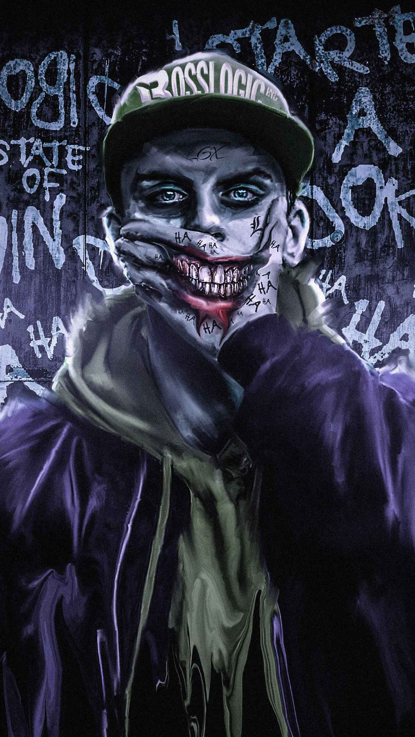 Joker Fake Smile iPhone Wallpaper