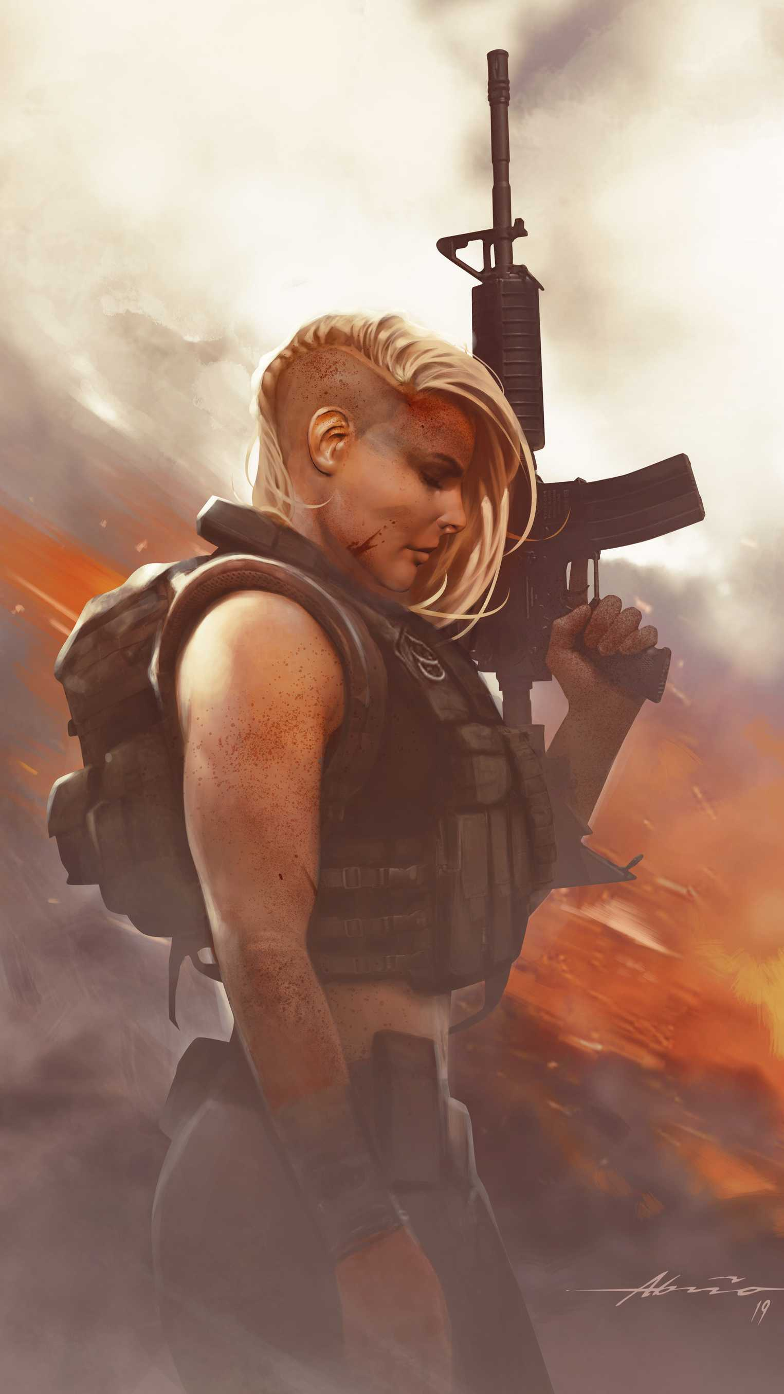 Lady Soldier iPhone Wallpaper