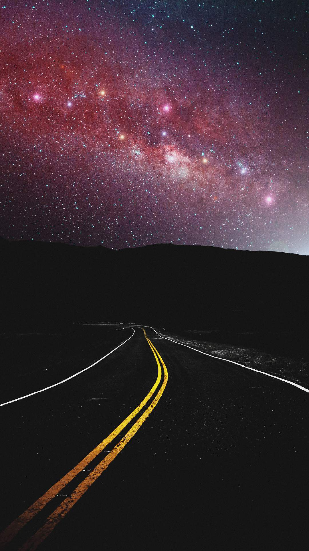 Milky Way View from Road iPhone Wallpaper