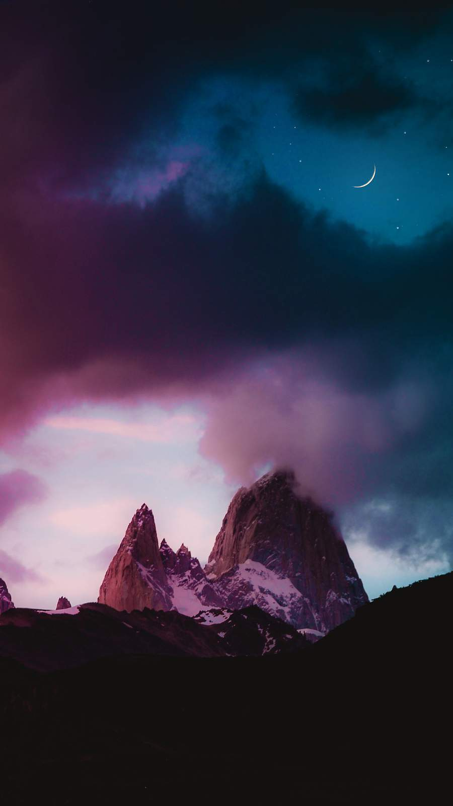 Moon Cloudy Sky and Mountains iPhone Wallpaper