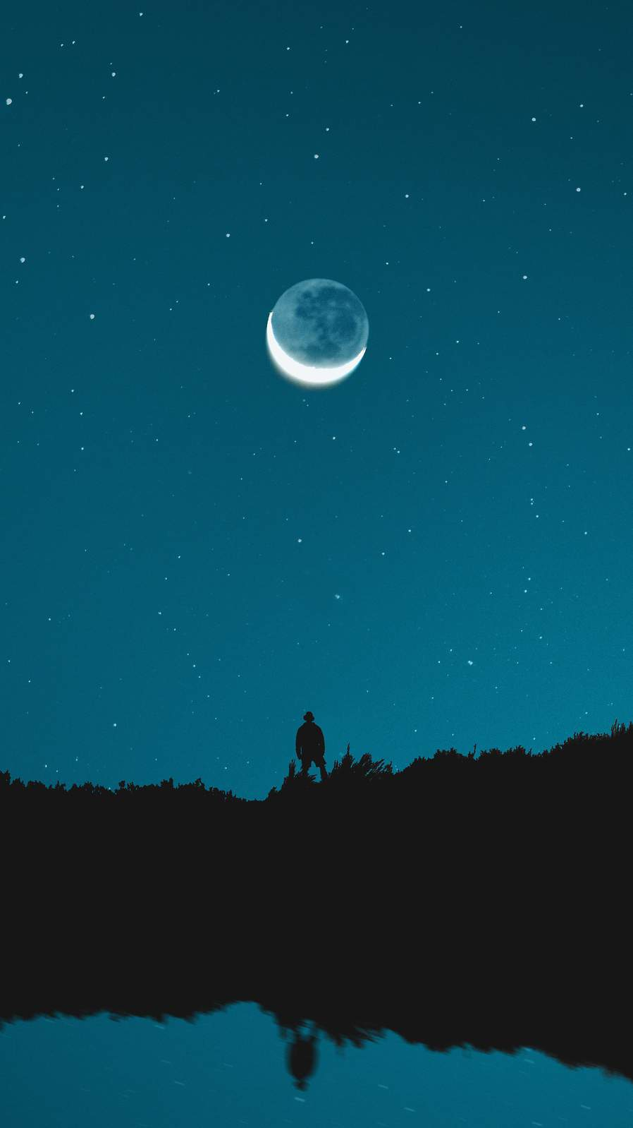 Moon Eclipse and Man iPhone Wallpaper