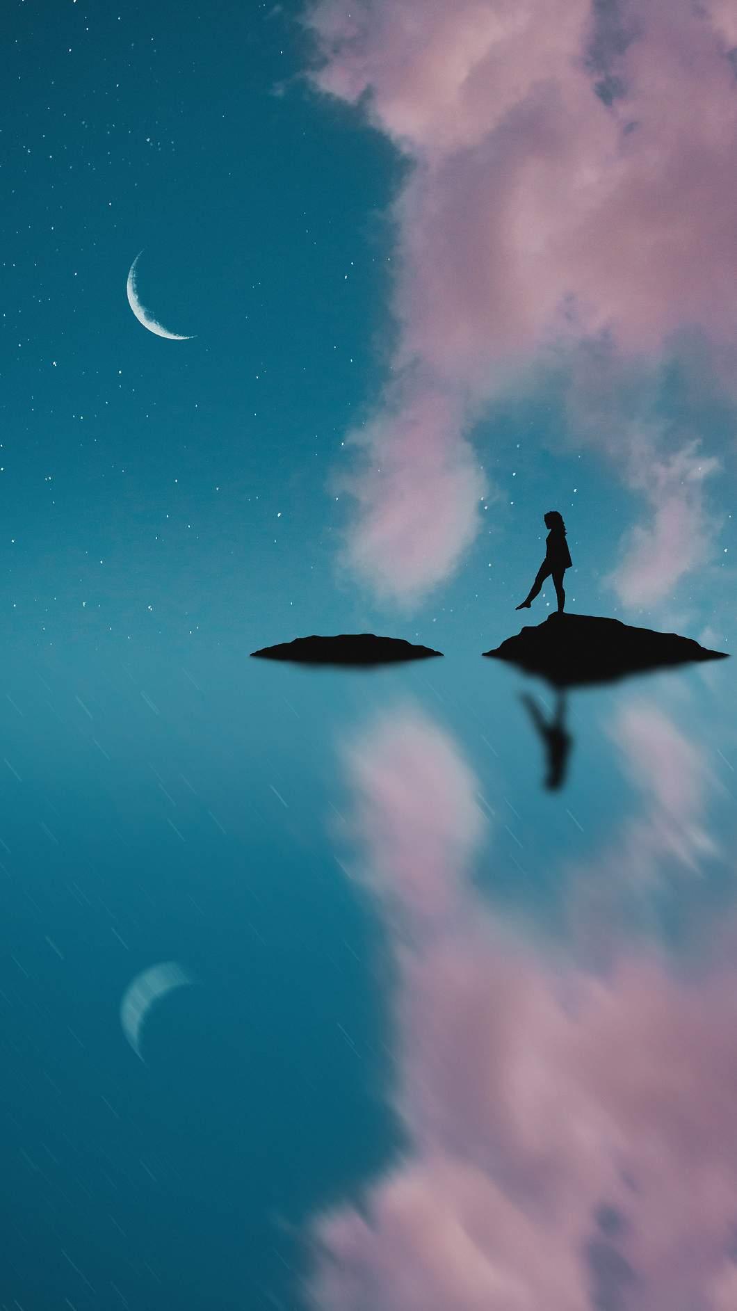 Moon Steps iPhone Wallpaper