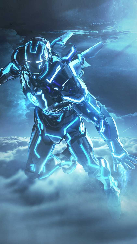 Neon Iron Man iPhone Wallpaper