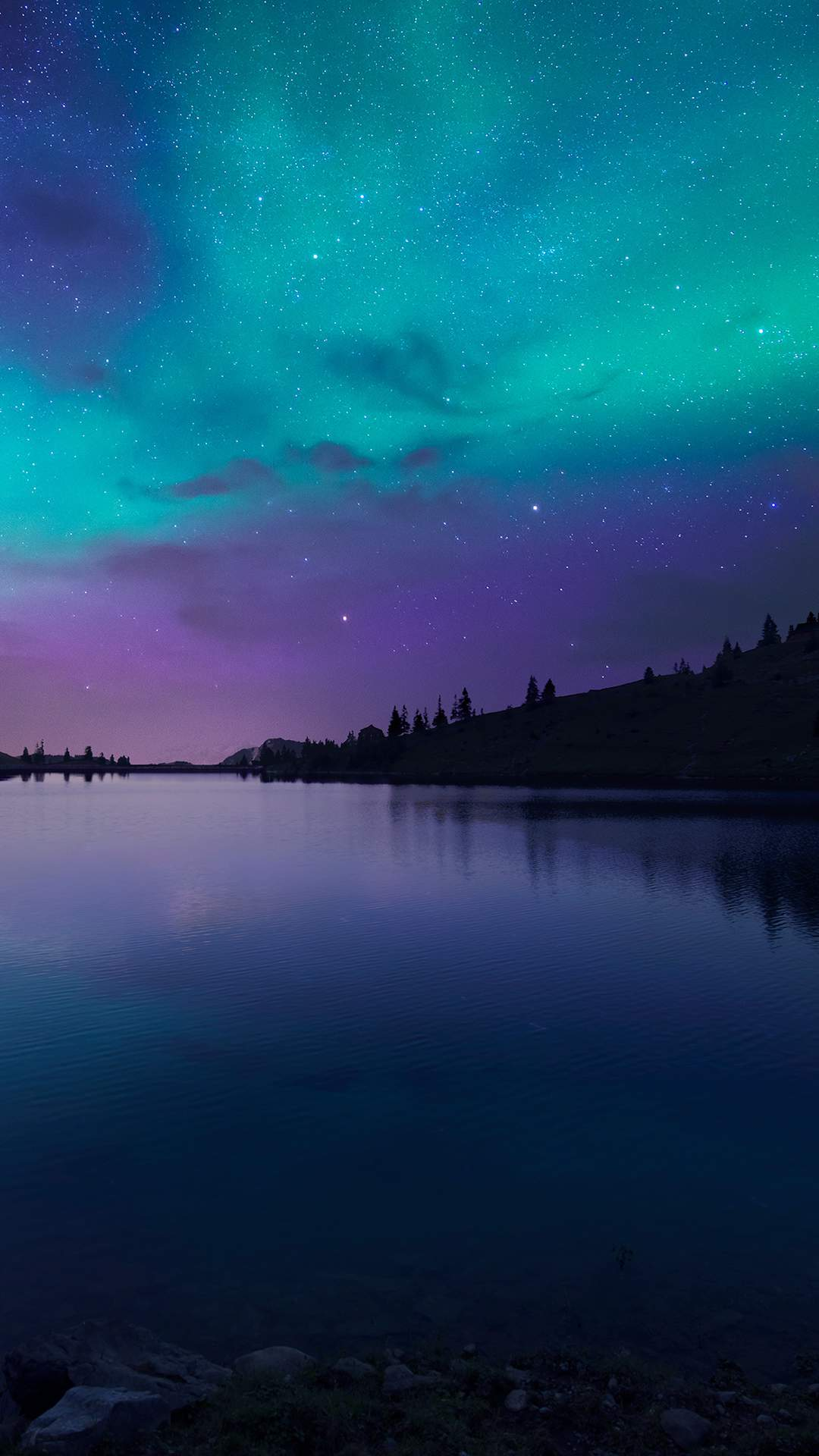 Night Fall Lake Aurora iPhone Wallpaper