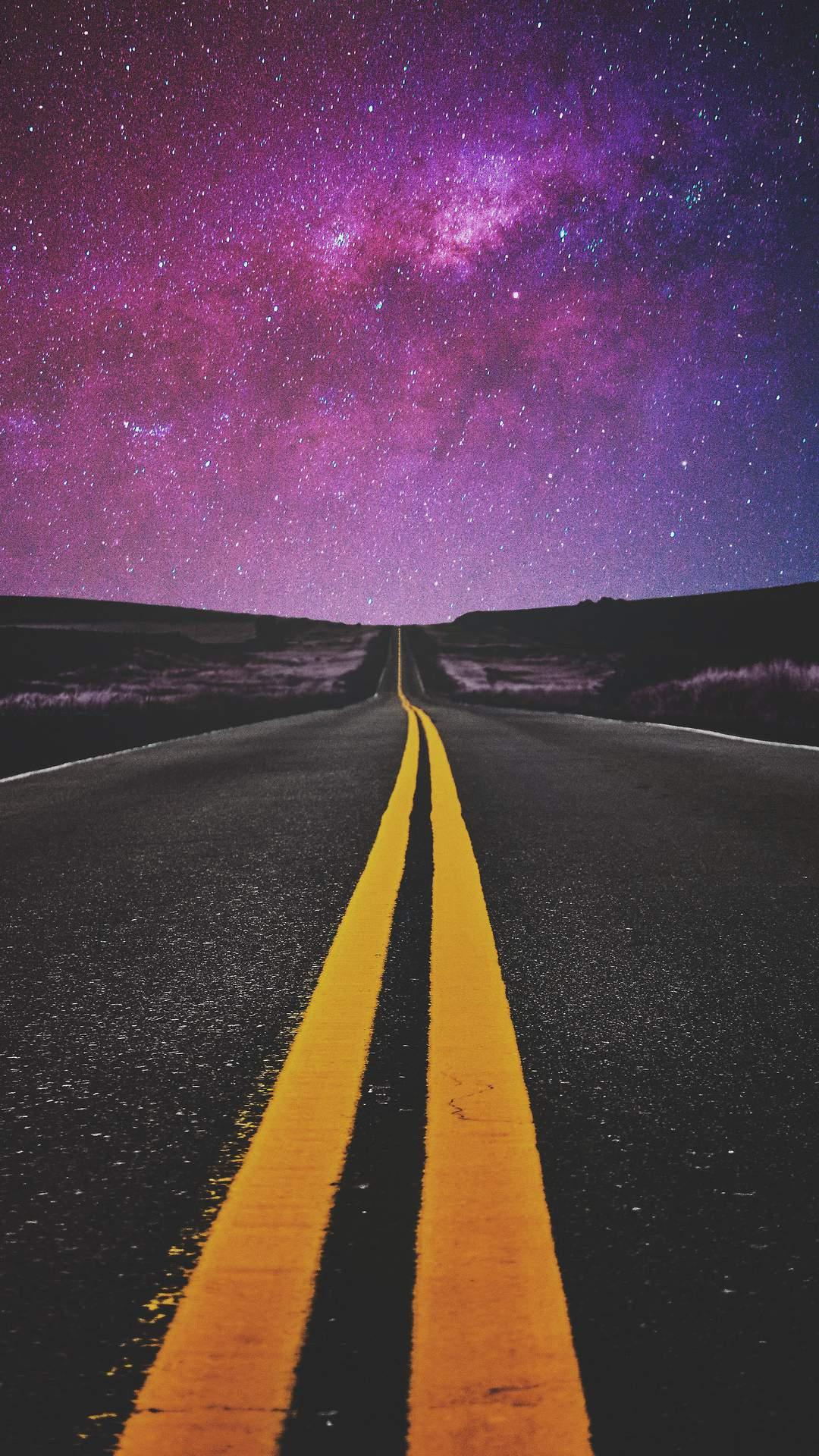 Night Road Starry Sky iPhone Wallpaper