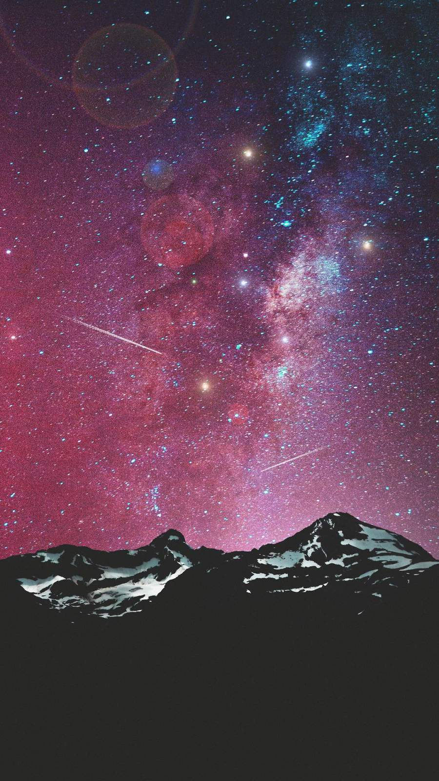 Night Sky Mountains Galaxy View Meteors iPhone Wallpaper
