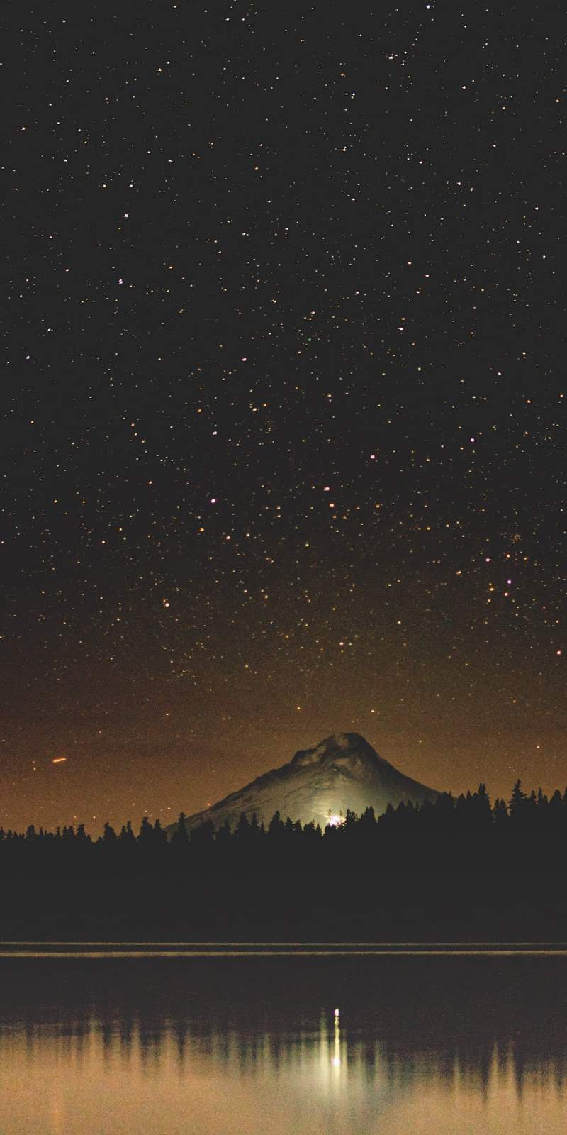 Night Starry Sky Lake Mountain iPhone Wallpaper