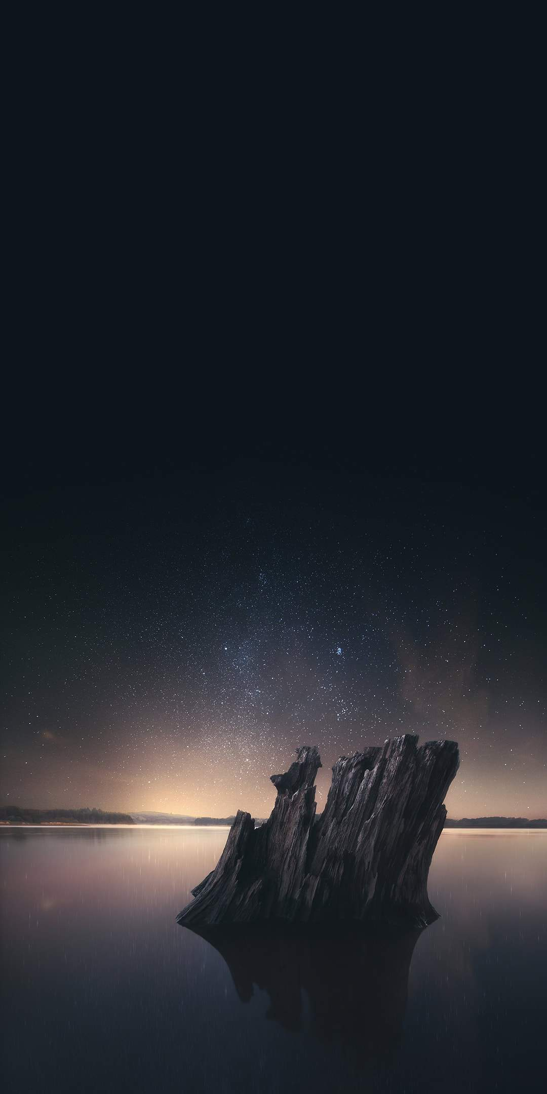 Night Starry Sky Ocean Rocks iPhone Wallpaper
