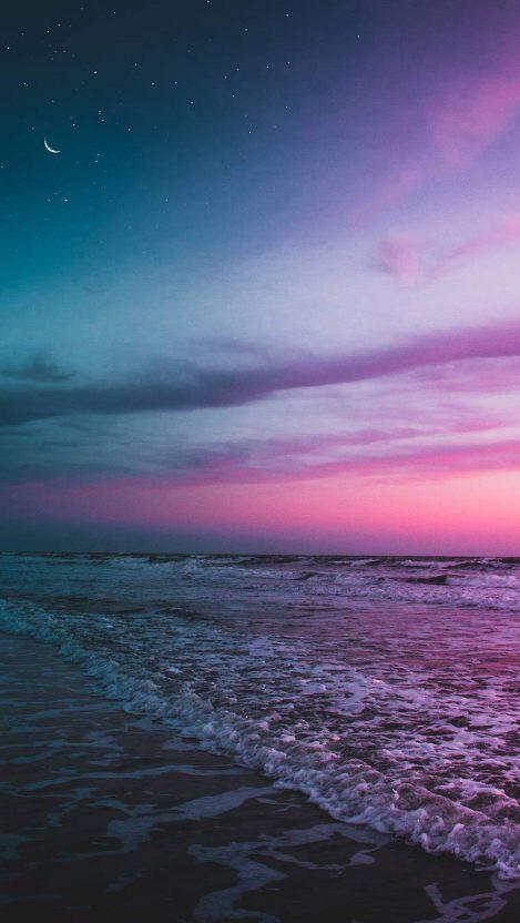 Ocean beach twilight moon starry sky iphone wallpaper - Twilight wallpaper for iphone ...