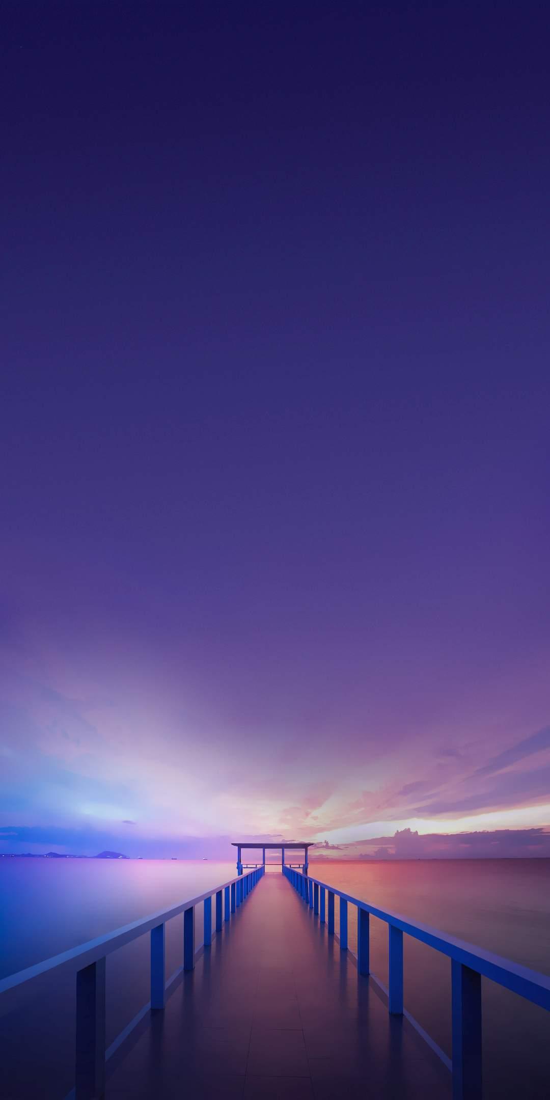 Ocean Bridge Pier Sunset Horizon iPhone Wallpaper