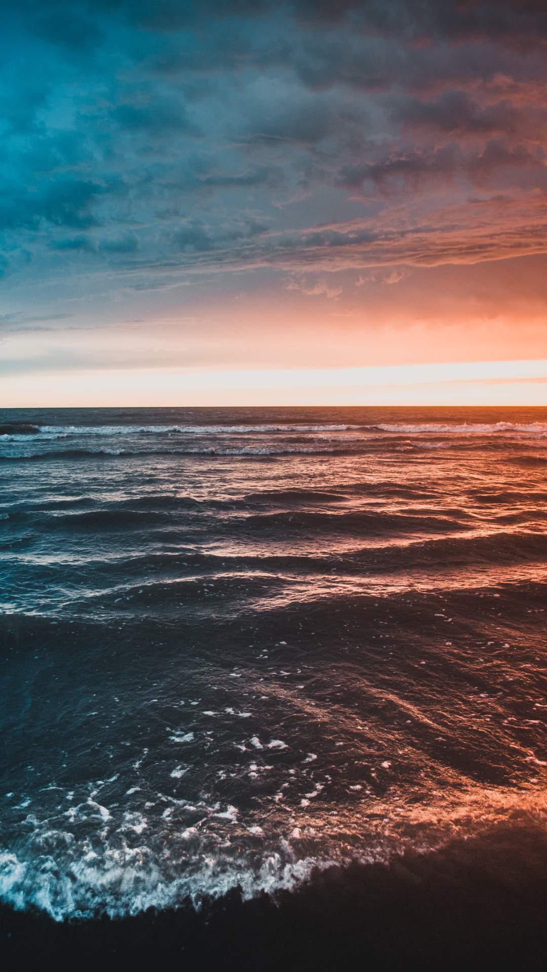 Ocean Waves Sunset iPhone Wallpaper