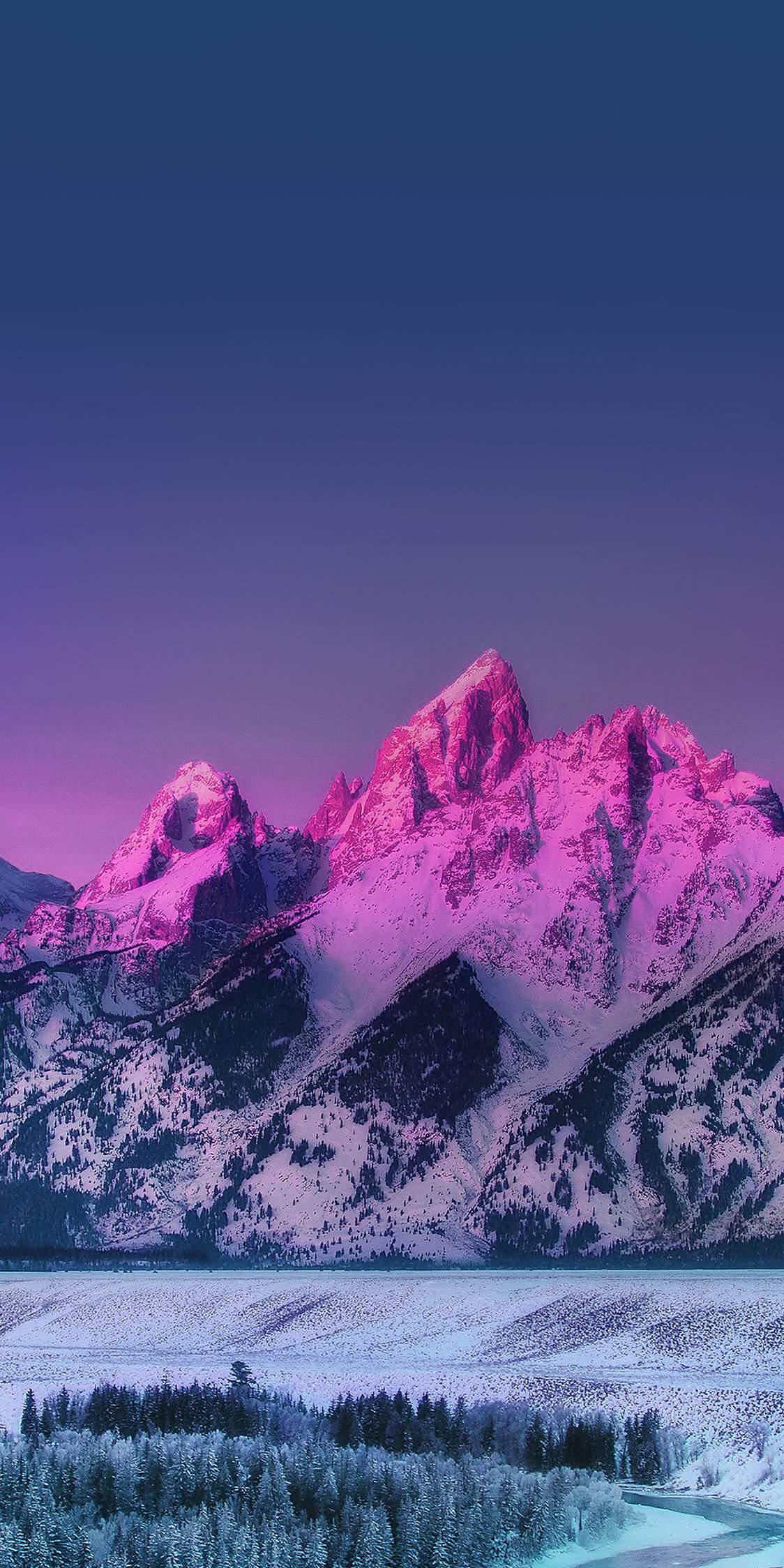 Pink Mountain Blue Sunset Nature iPhone Wallpaper