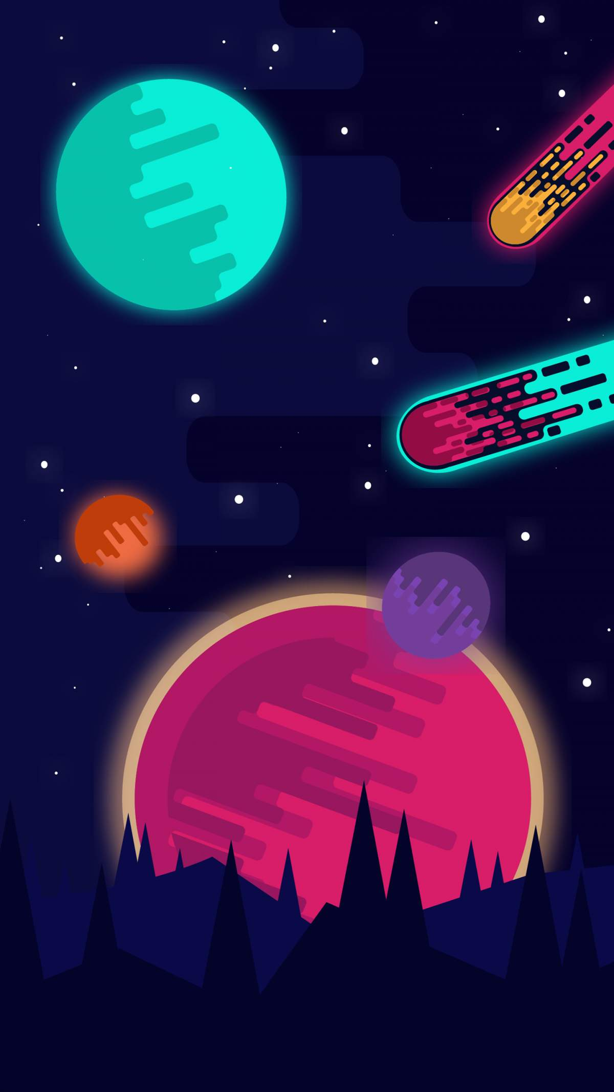 Planets and Meteors iPhone Wallpaper