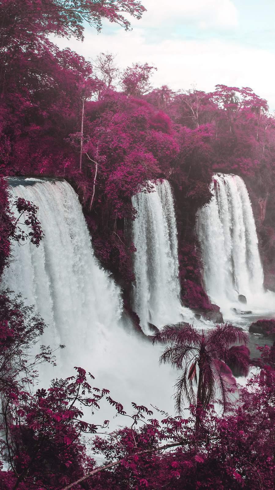 Purple Waterfall iPhone Wallpaper