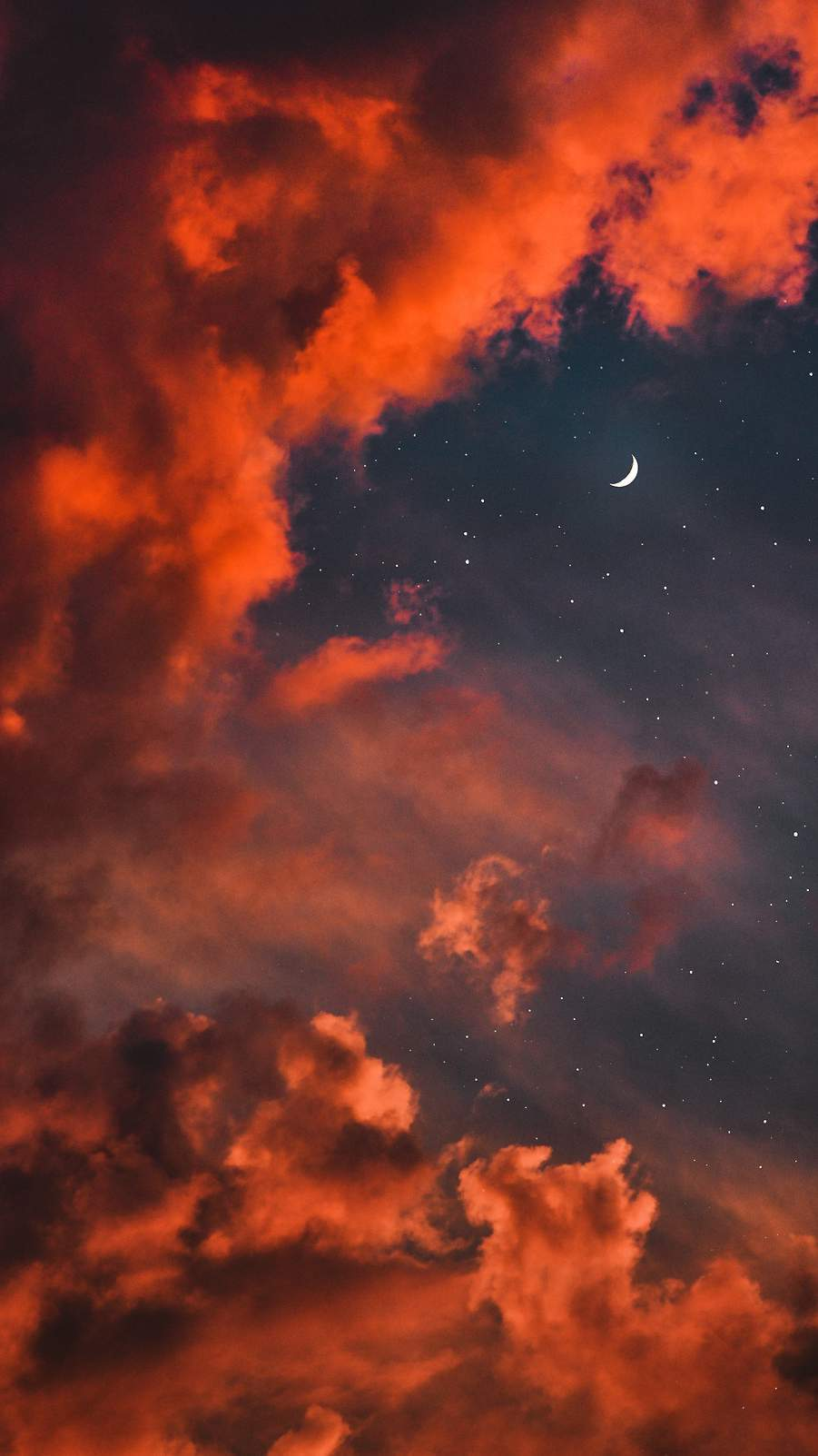 Red Clouds Stars Twilight Moon iPhone Wallpaper