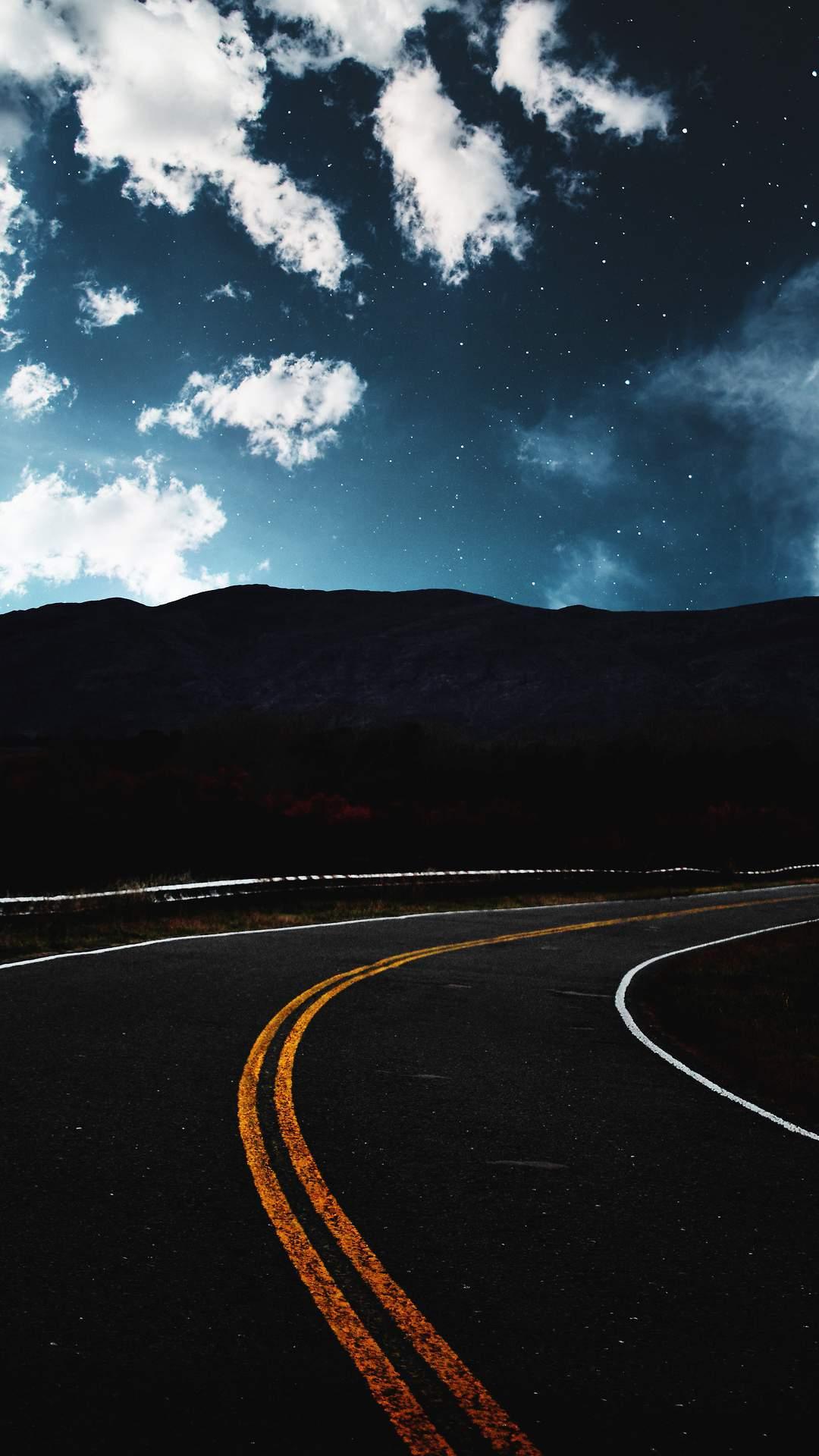 Road Dark Starry Sky iPhone Wallpaper