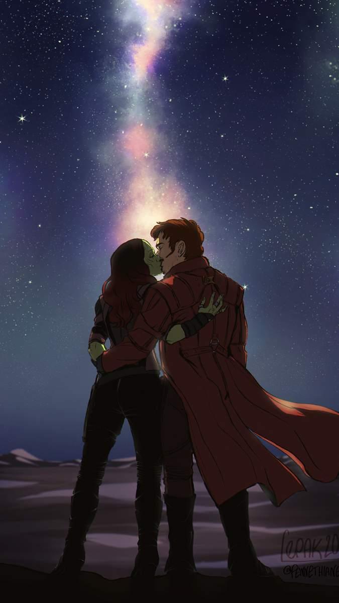 Starlord and Gamora Kiss iPhone Wallpaper