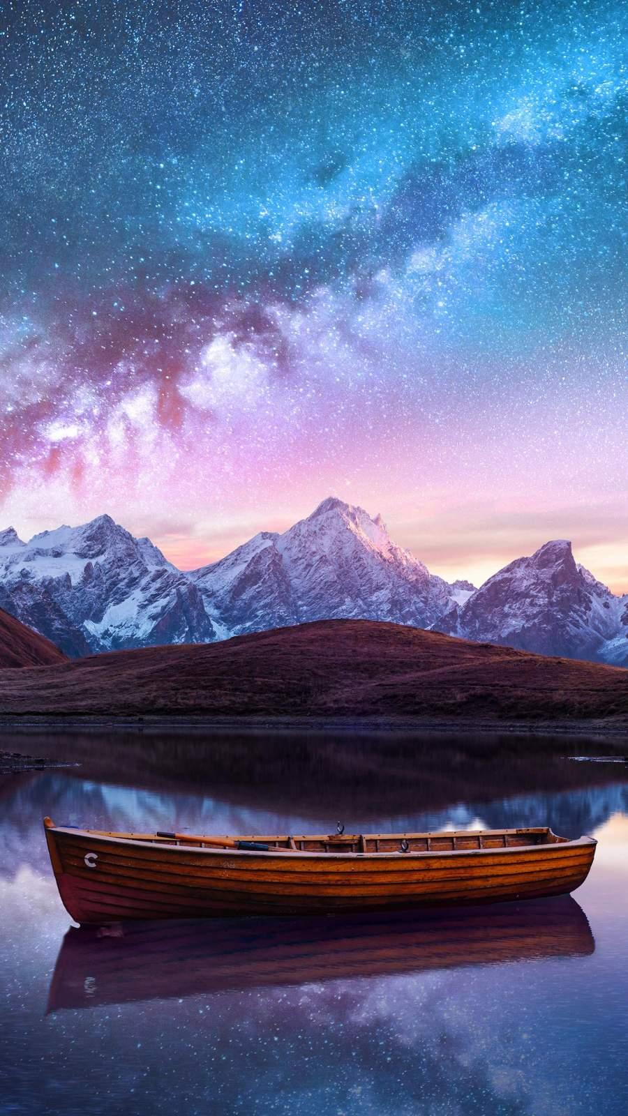 Starry Night Lake iPhone Wallpaper