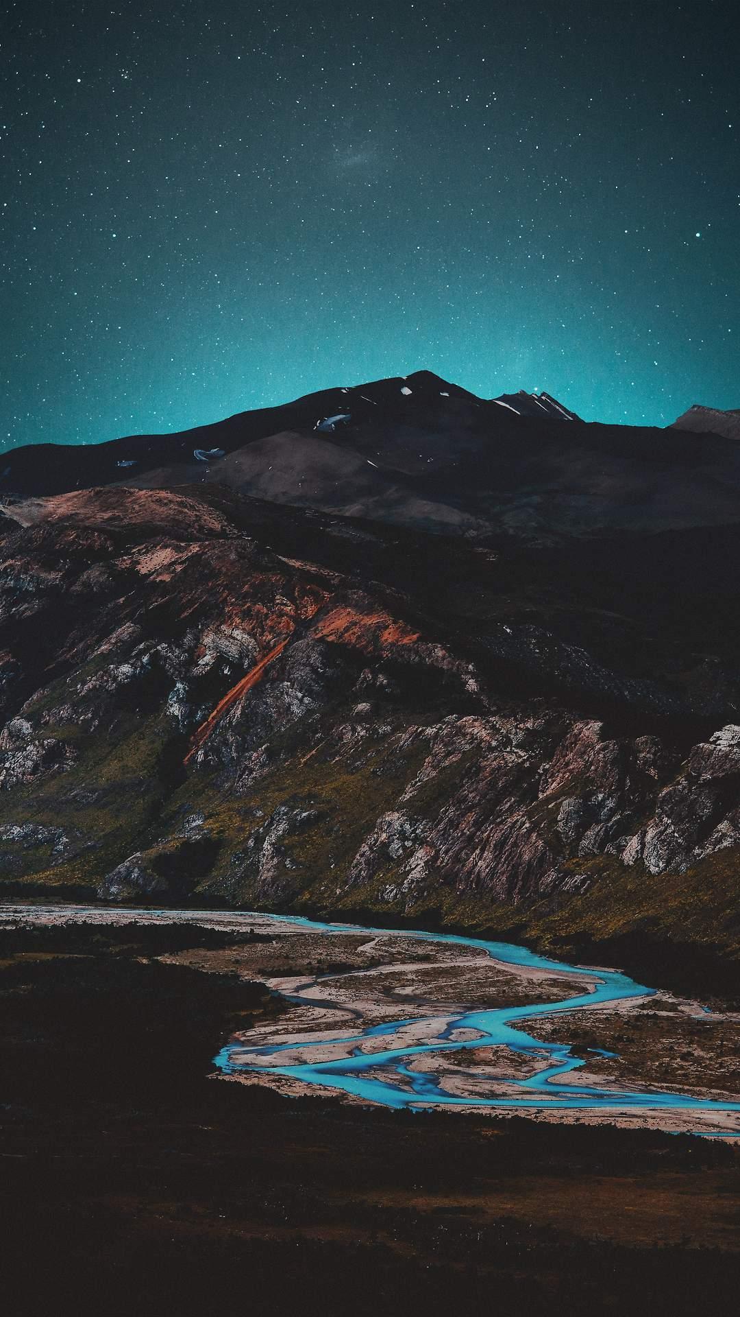 Starry Night Mountain Lake iPhone Wallpaper