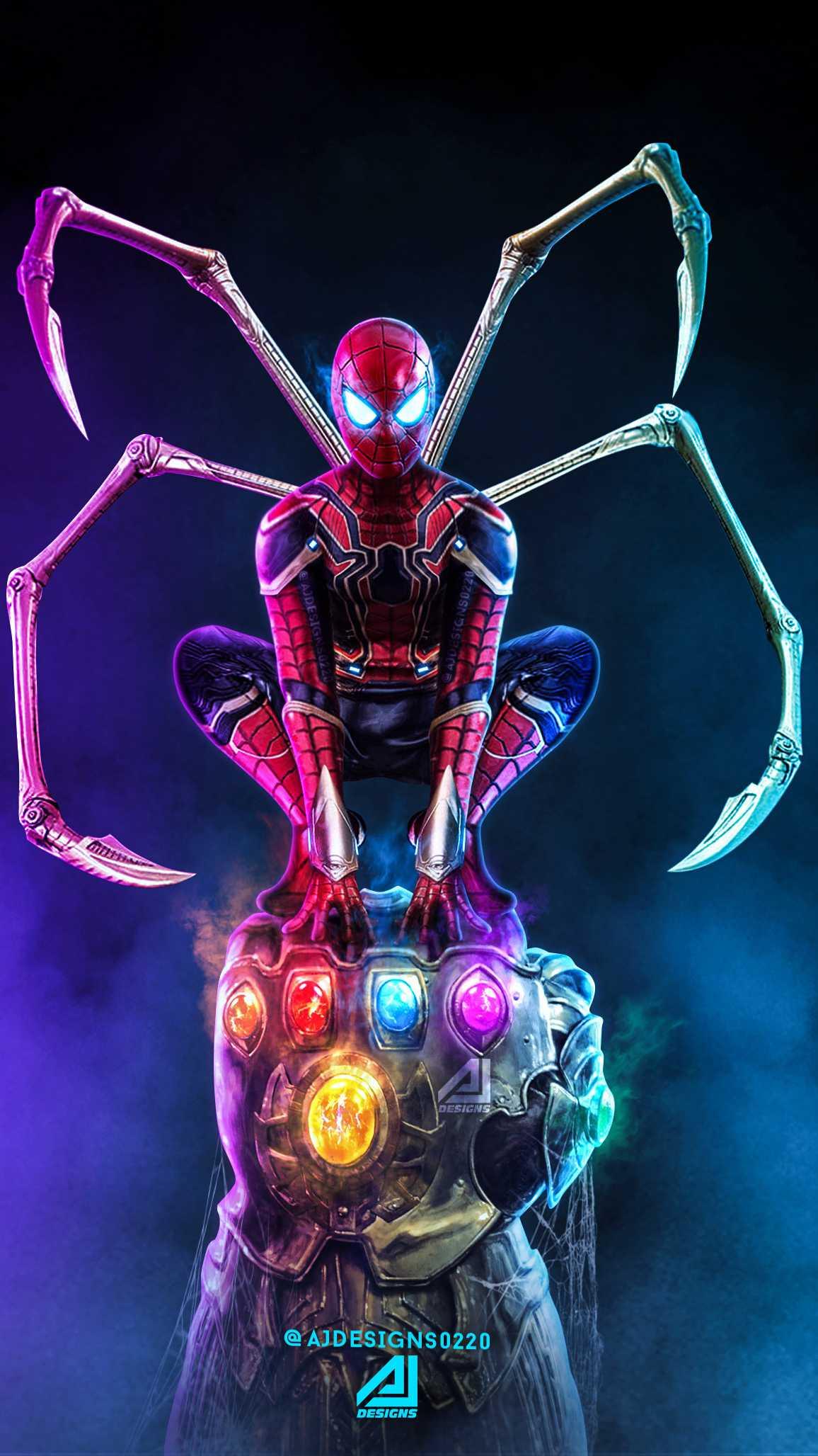Thanos vs Spider Man iPhone Wallpaper